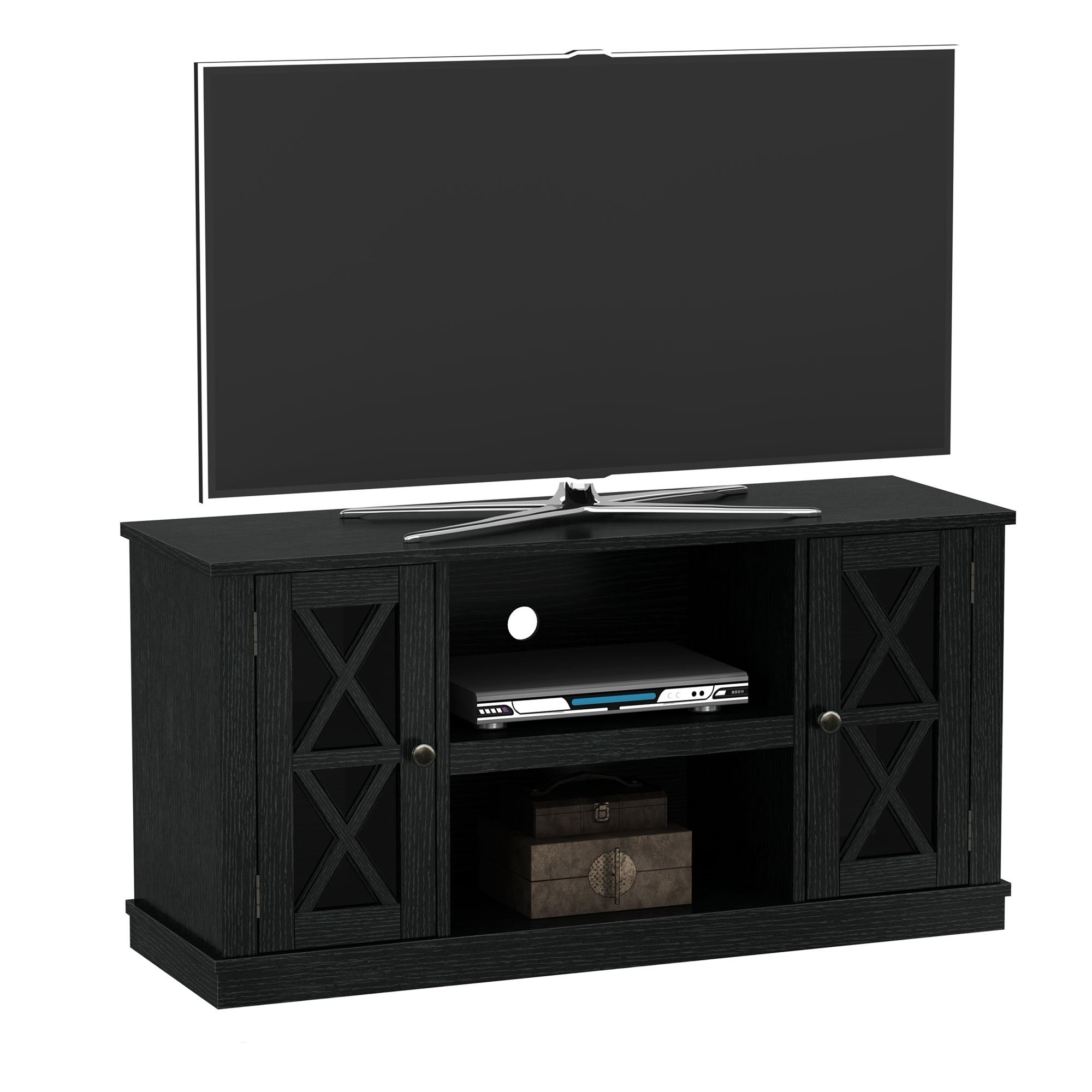 Shop Bayport Tv Stand For Tvs Up To 55 Inches Black Free Shipping