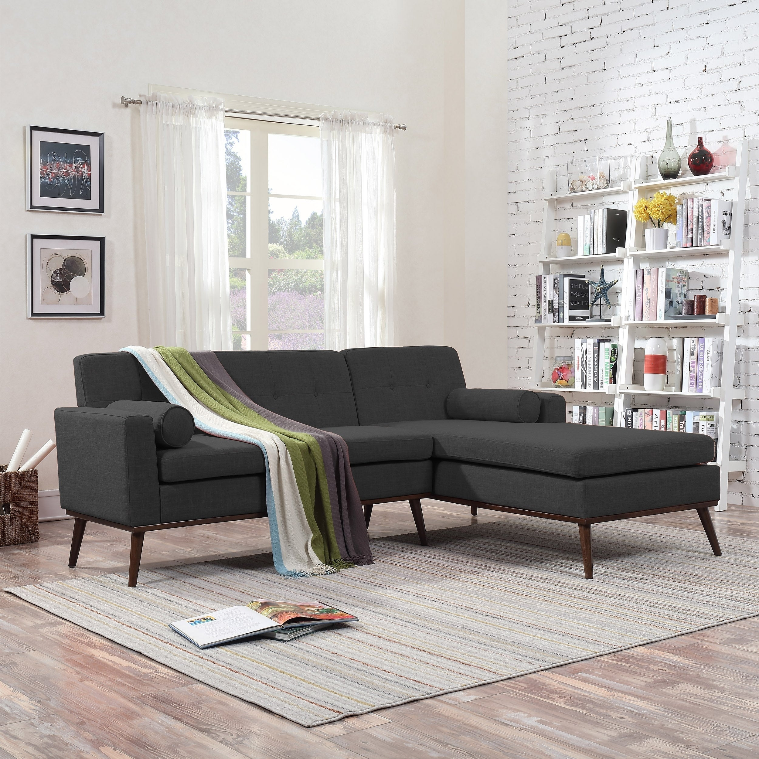 Stormi Mid Century Modern 2 Piece Mut Sectional Sofa And Lounge Set By Christopher Knight Home
