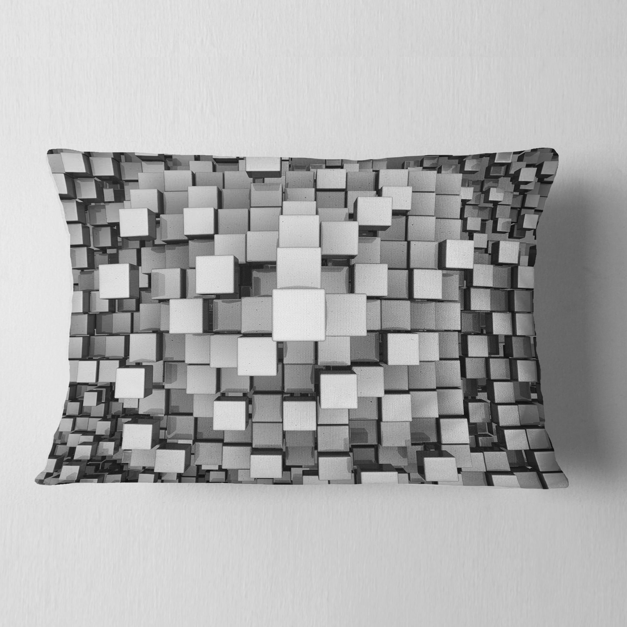 Designart \'Black and Grey Cubes\' Contemporary Throw Pillow