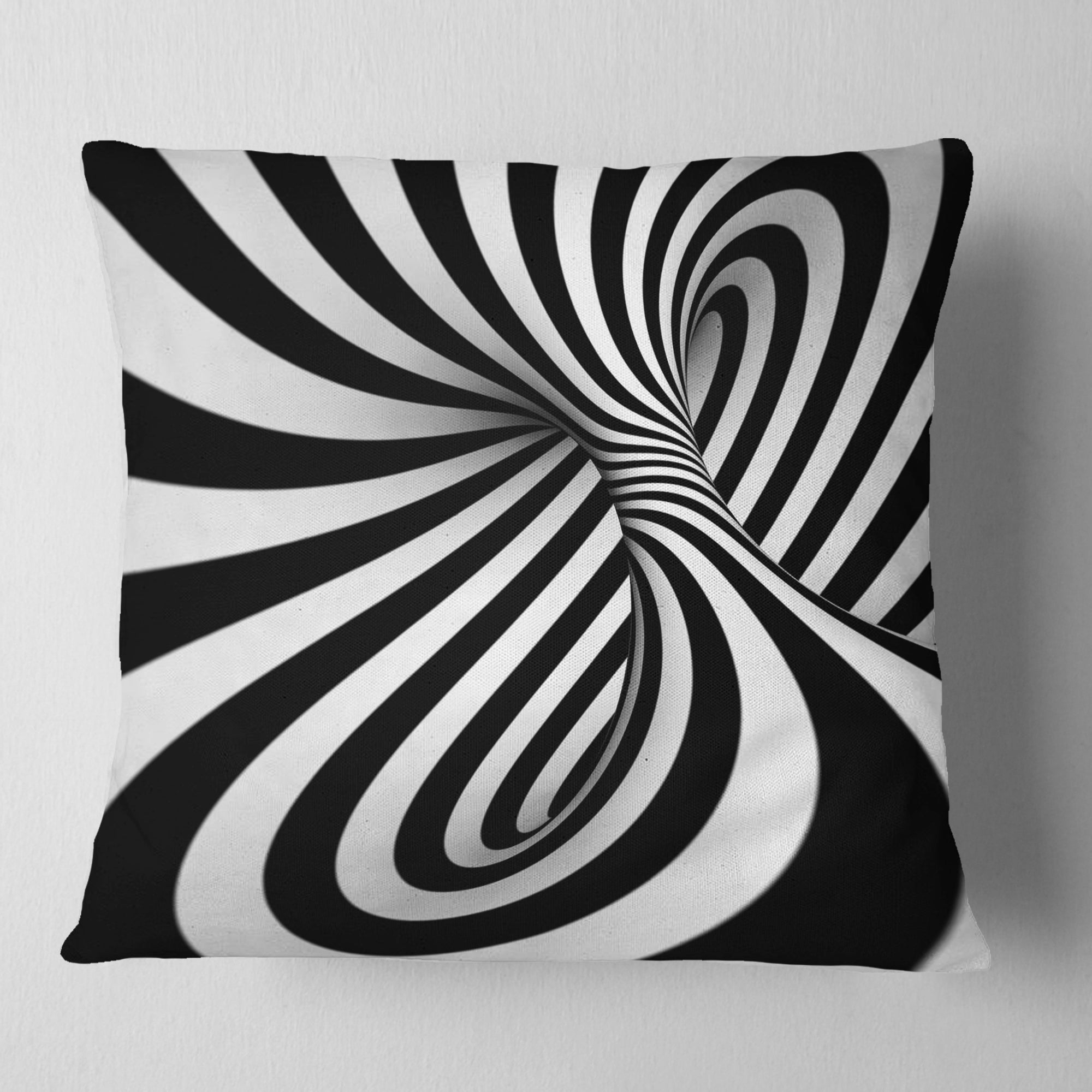 Shop designart spiral black n white contemporary throw pillow free shipping on orders over 45 overstock com 20890623