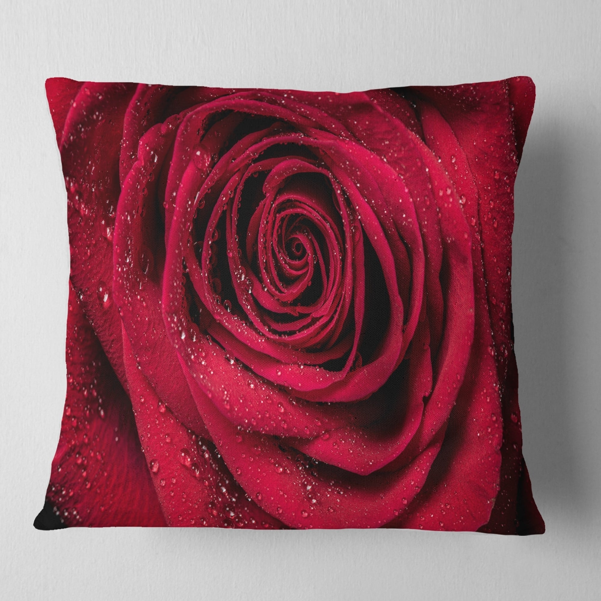 Designart Red Rose Petals With Rain Droplets Fl Throw Pillow On Free Shipping Orders Over 45 20890655
