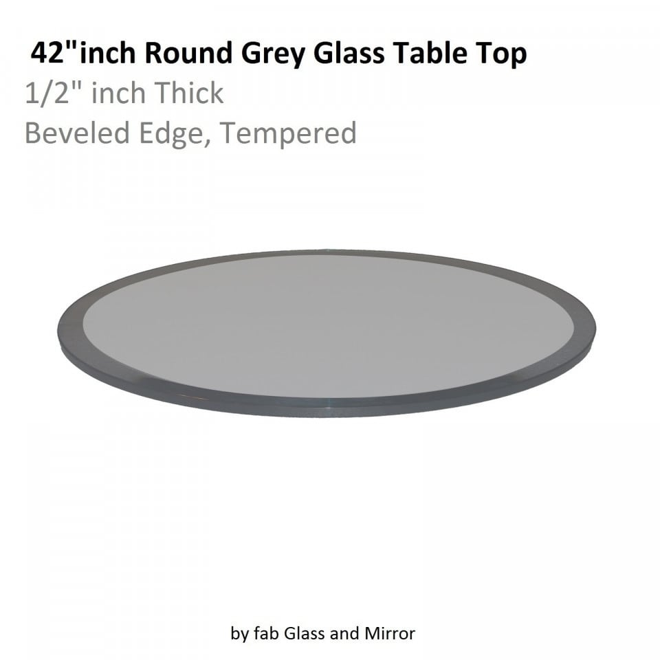 Shop Round Grey Glass Table Top 12 Inch Thick Beveled Tempered