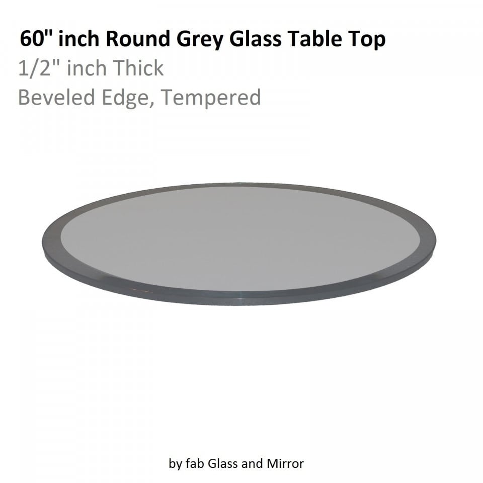 Shop Round Grey Glass Table Top 1/2 Inch Thick Beveled Tempered   Free  Shipping Today   Overstock.com   20890952