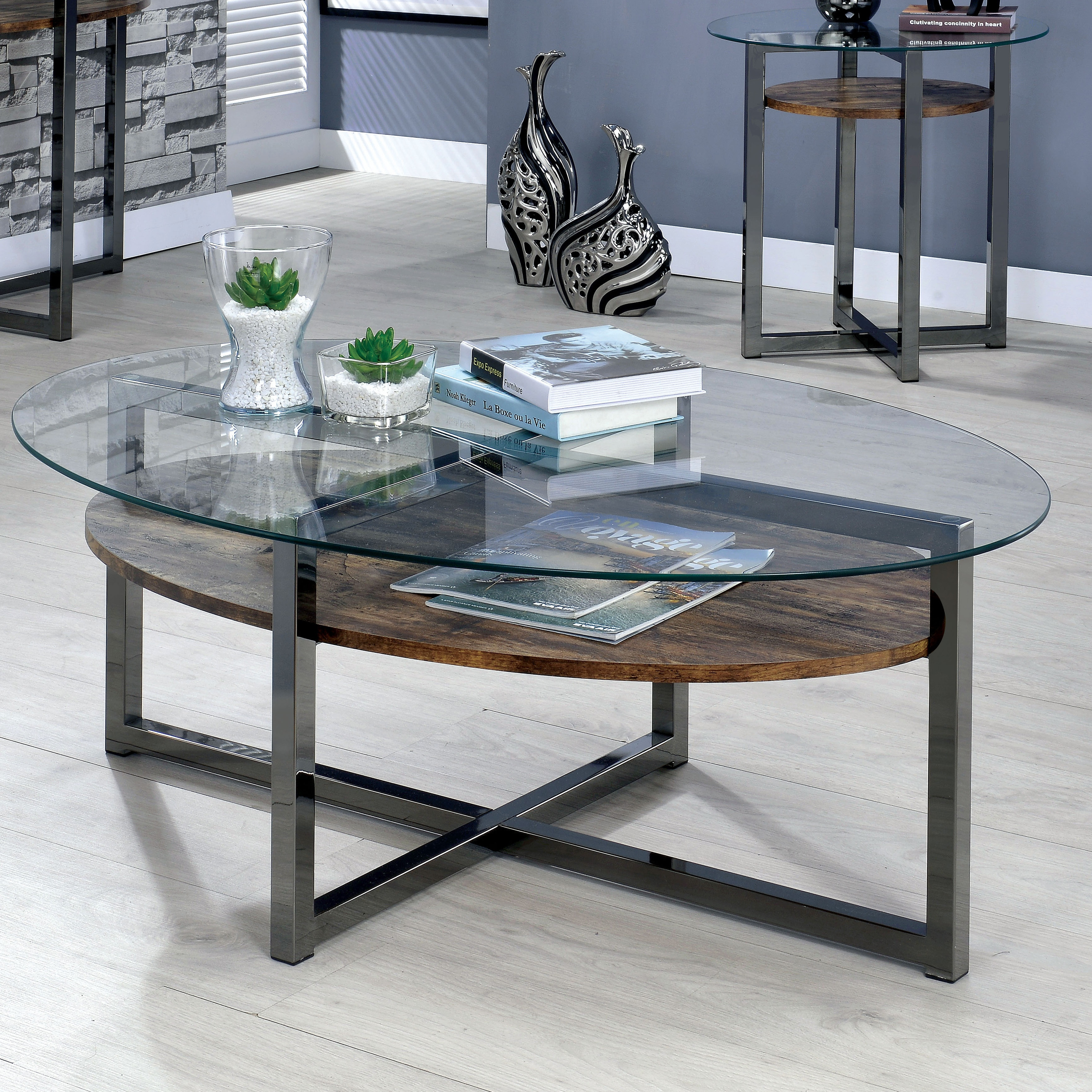 Shop Furniture Of America Darion Industrial Glass Top Coffee Table   On  Sale   Free Shipping Today   Overstock.com   20895590
