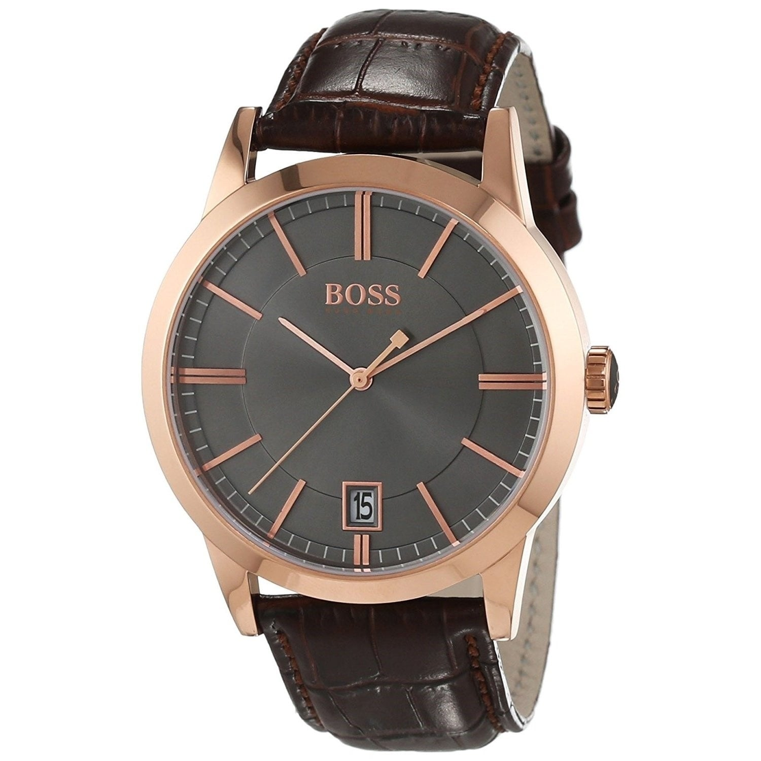 Hugo Boss Men S 1513131 Success Brown Leather Watch