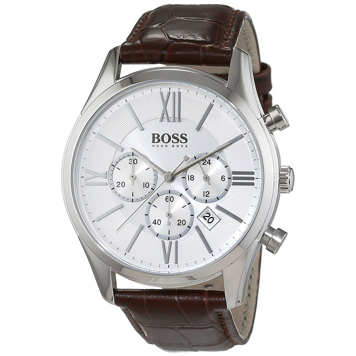 c59ae1d6ed96 Shop Hugo Boss Men's 1513195 'Ambassador' Chronograph Brown Leather Watch -  Free Shipping Today - Overstock - 20904329