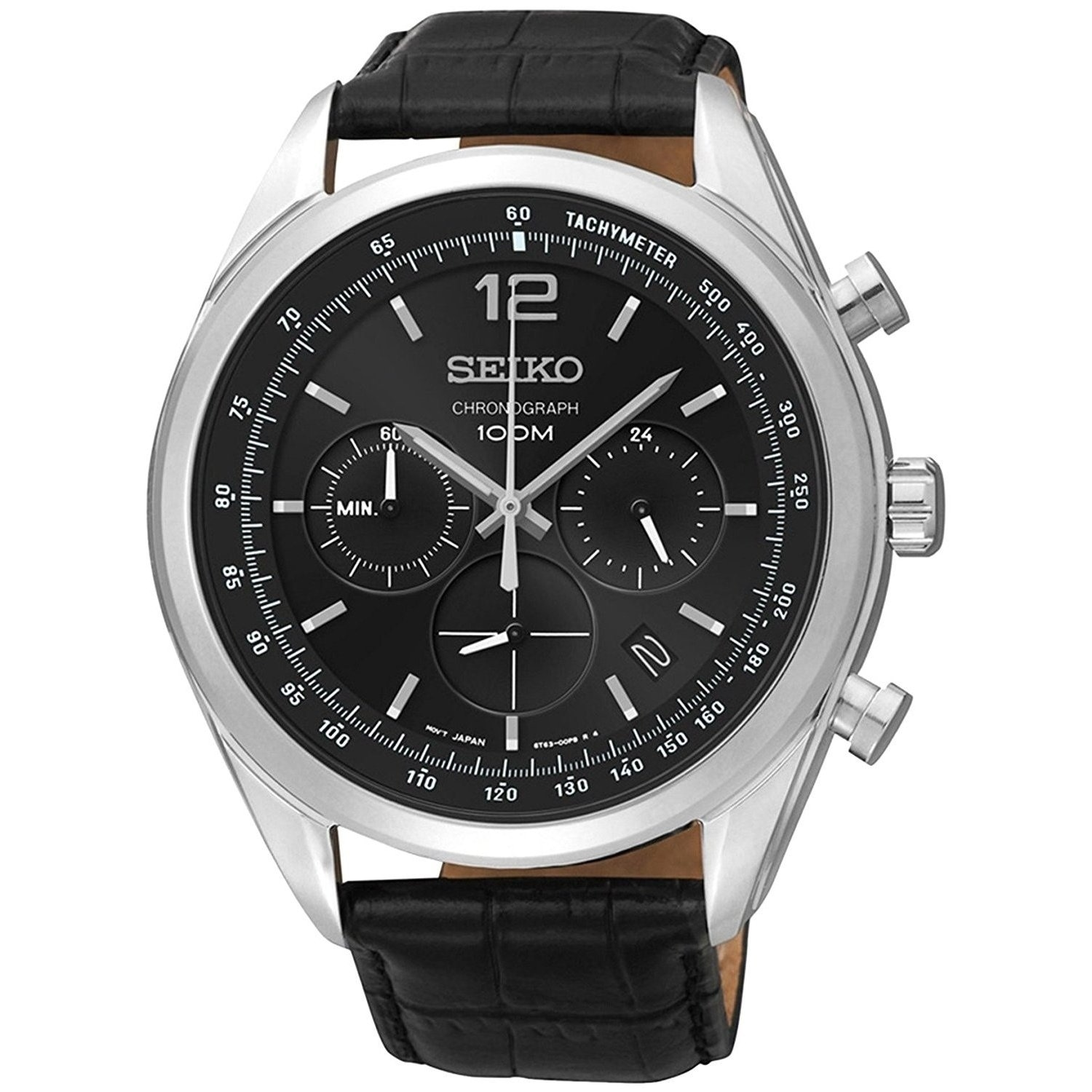 f3f43ebe8 Shop Seiko Men's Chronograph Black Leather Watch - Free Shipping Today -  Overstock - 20904506
