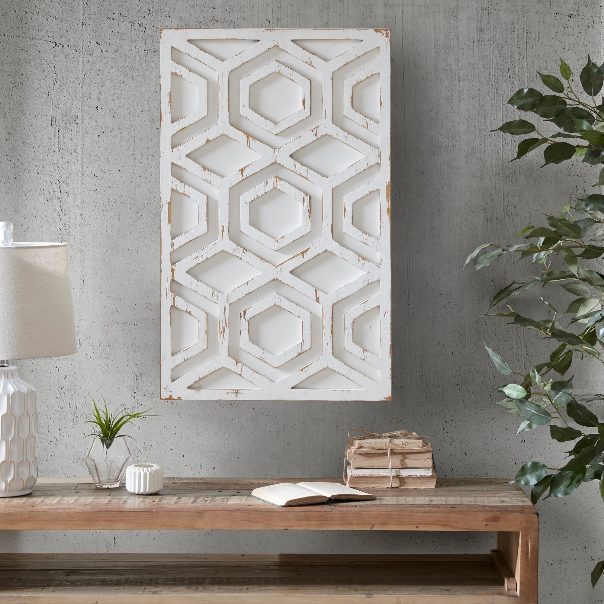 Ink Ivy Ralston White Wooden Wall Art With Pattern Free Shipping Today 20905054