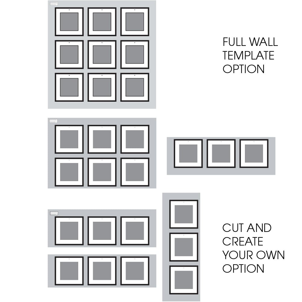 Shop 9 piece greywash square photo frame wall gallery kit with shop 9 piece greywash square photo frame wall gallery kit with decorative art prints hanging template free shipping today overstock 20905313 maxwellsz