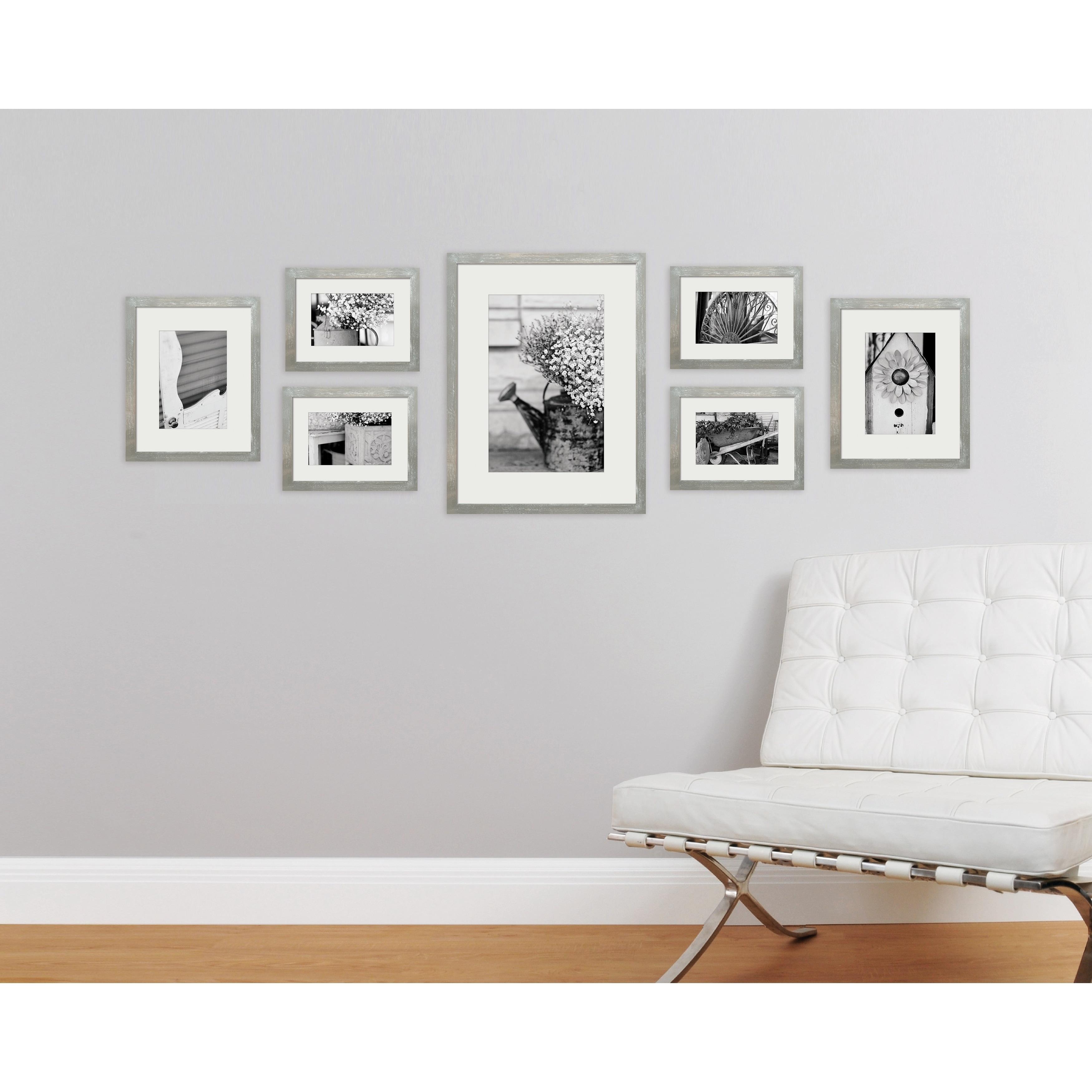 Shop 7 Piece Greywash Photo Frame Wall Gallery Kit with Decorative ...