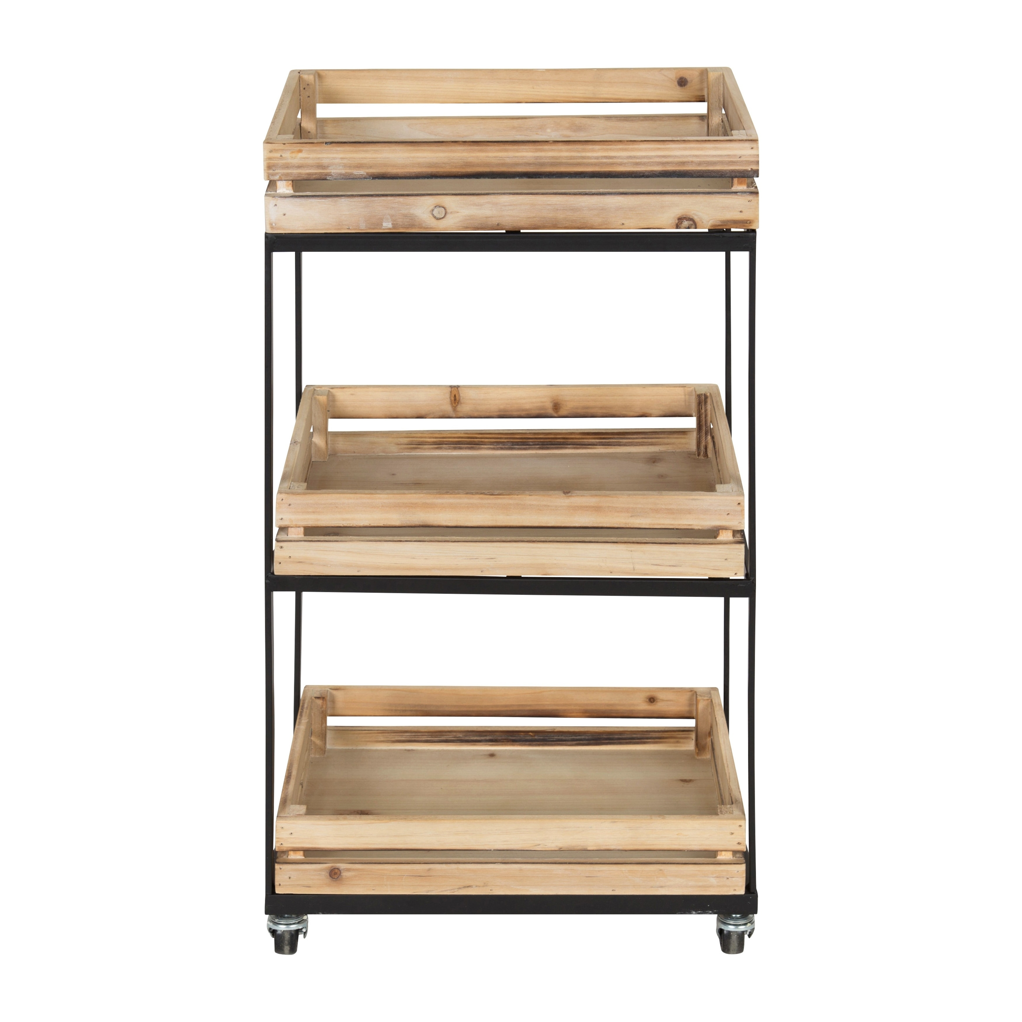 Shop Usman 3 Tiered Storage Cart With Wheels Wood with Black Metal Frame - Free Shipping Today - Overstock.com - 20909929  sc 1 st  Overstock.com & Usman 3 Tiered Storage Cart With Wheels Wood with Black Metal Frame