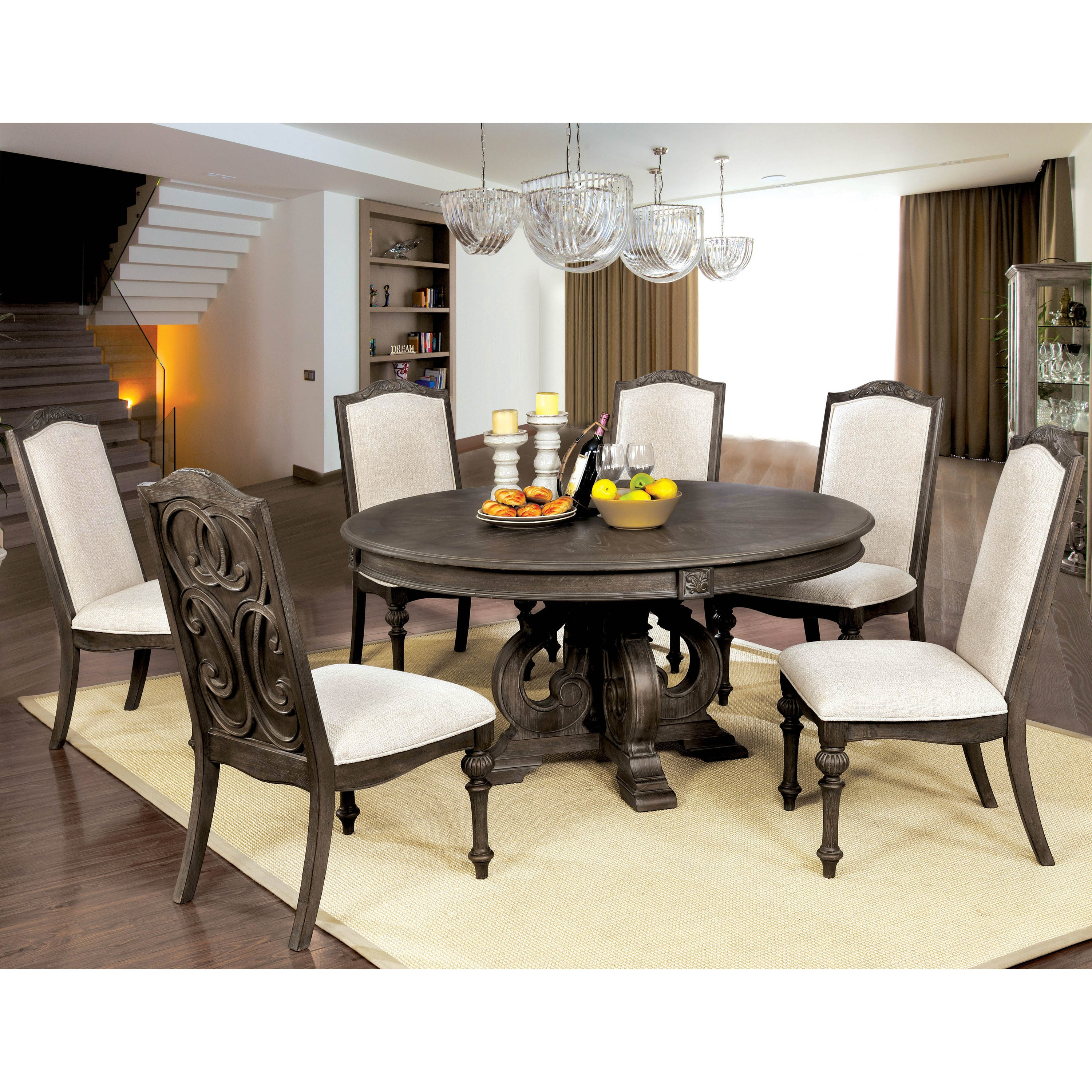 Furniture of America Leland Rustic 60 inch Round Dining Table Free
