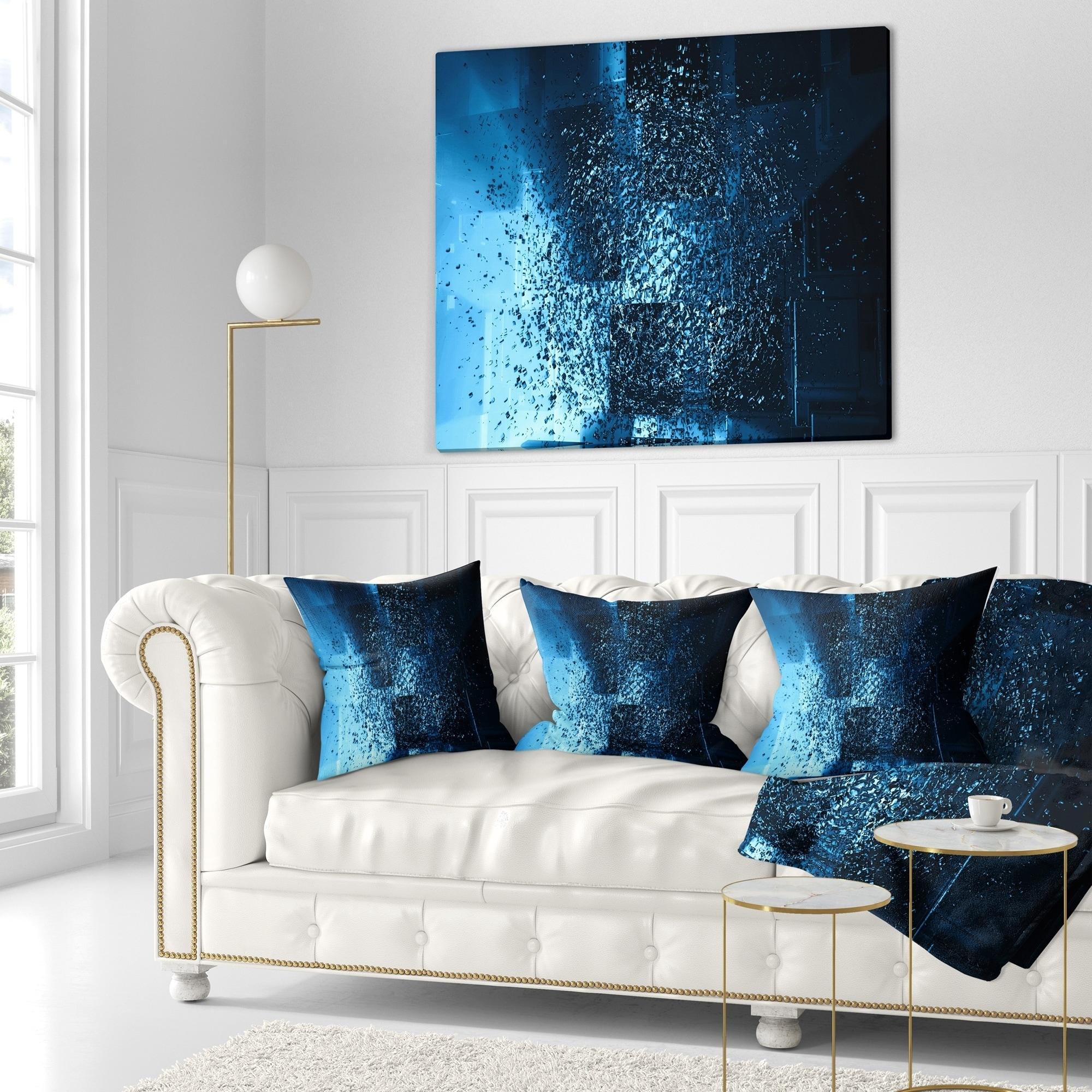 Designart \'Fractal 3D Blue Paint Splash\' Contemporary Throw Blanket ...
