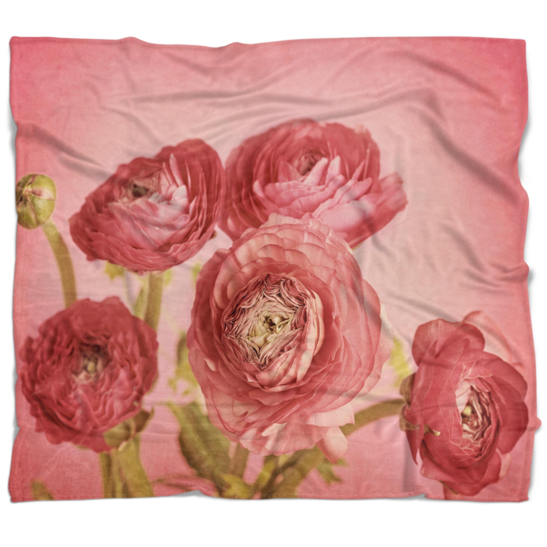 Designart Bunch Of Ranunculus Flowers On Pink Floral Throw Blanket