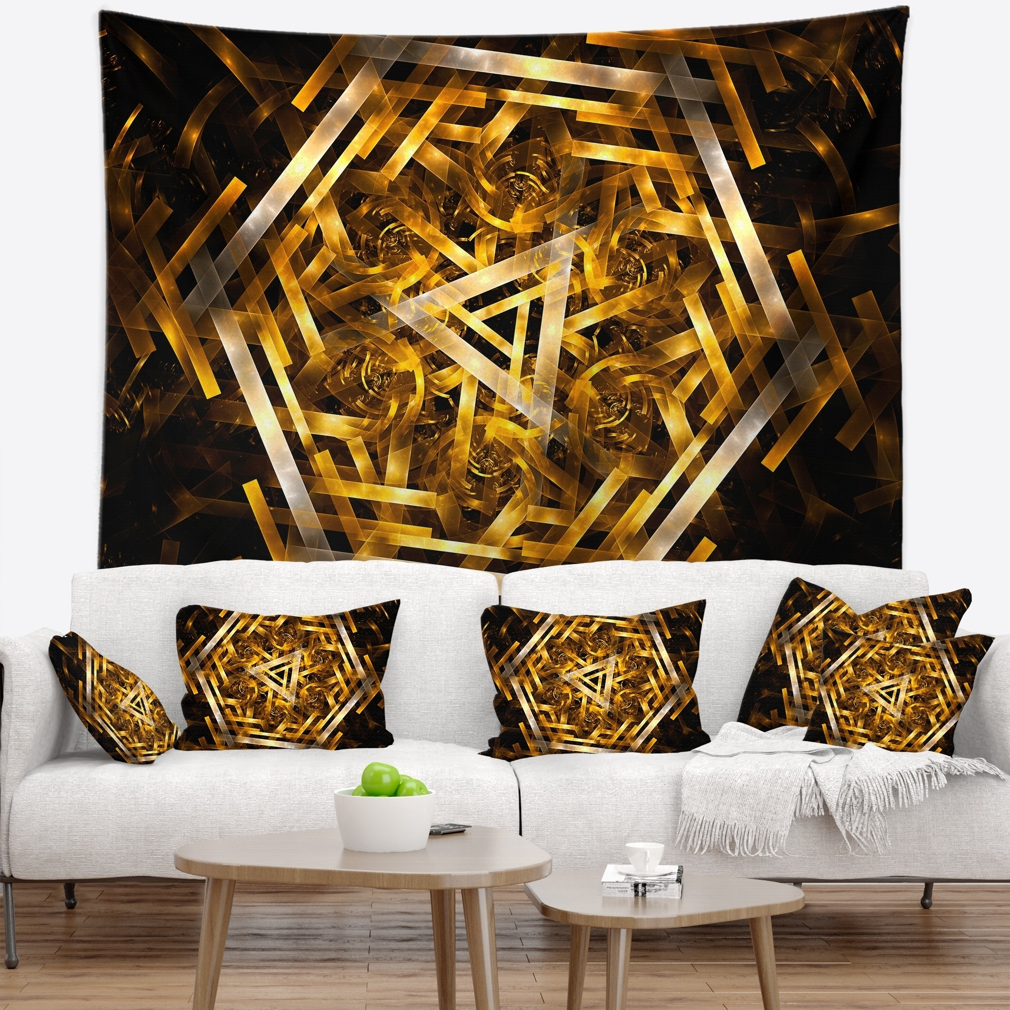 Designart Fractal 3d Yellowish Hexagon Contemporary Wall Tapestry Overstock 20923970