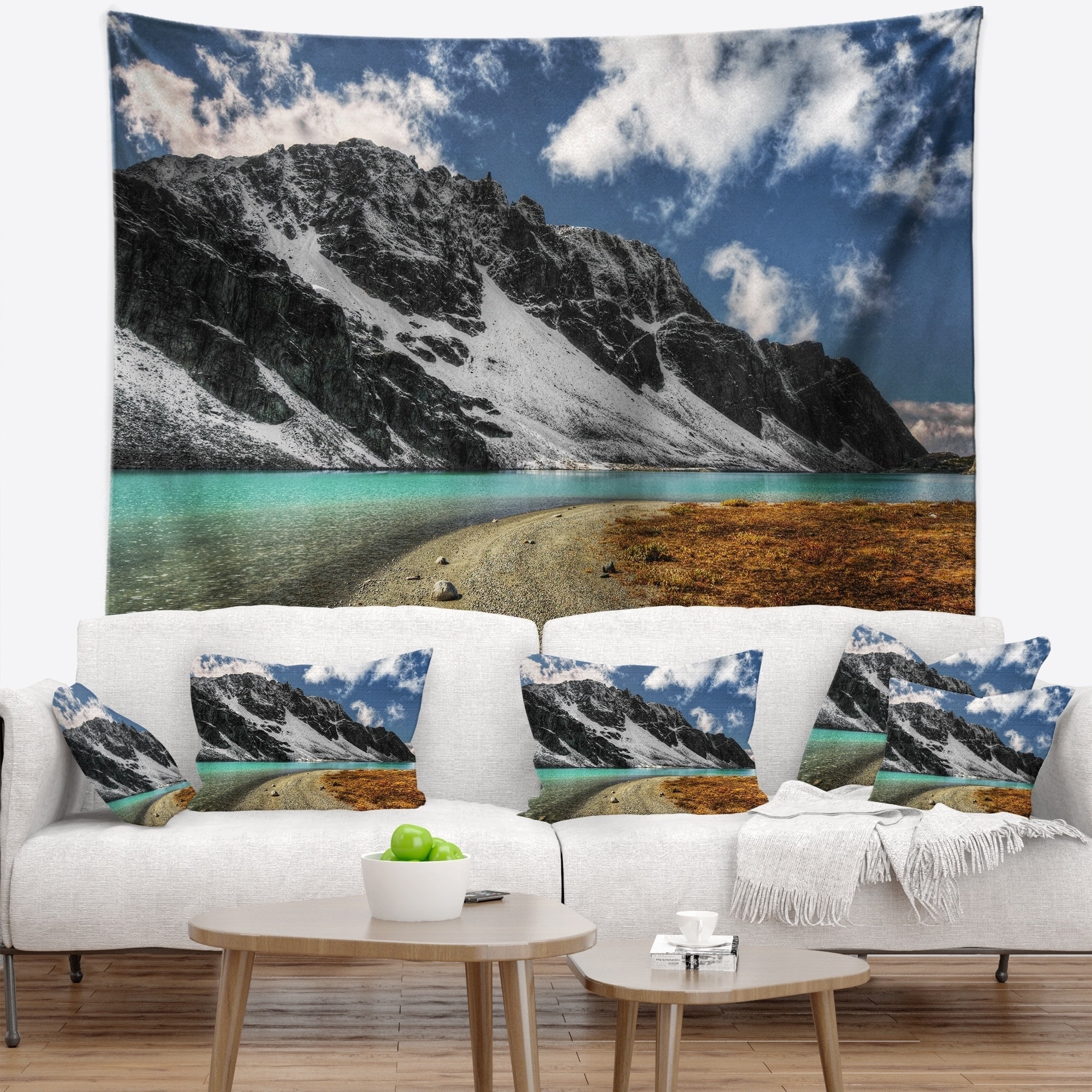 Designart Bright Sky And Blue Mountain Lake Landscape Wall Tapestry Overstock 20926476