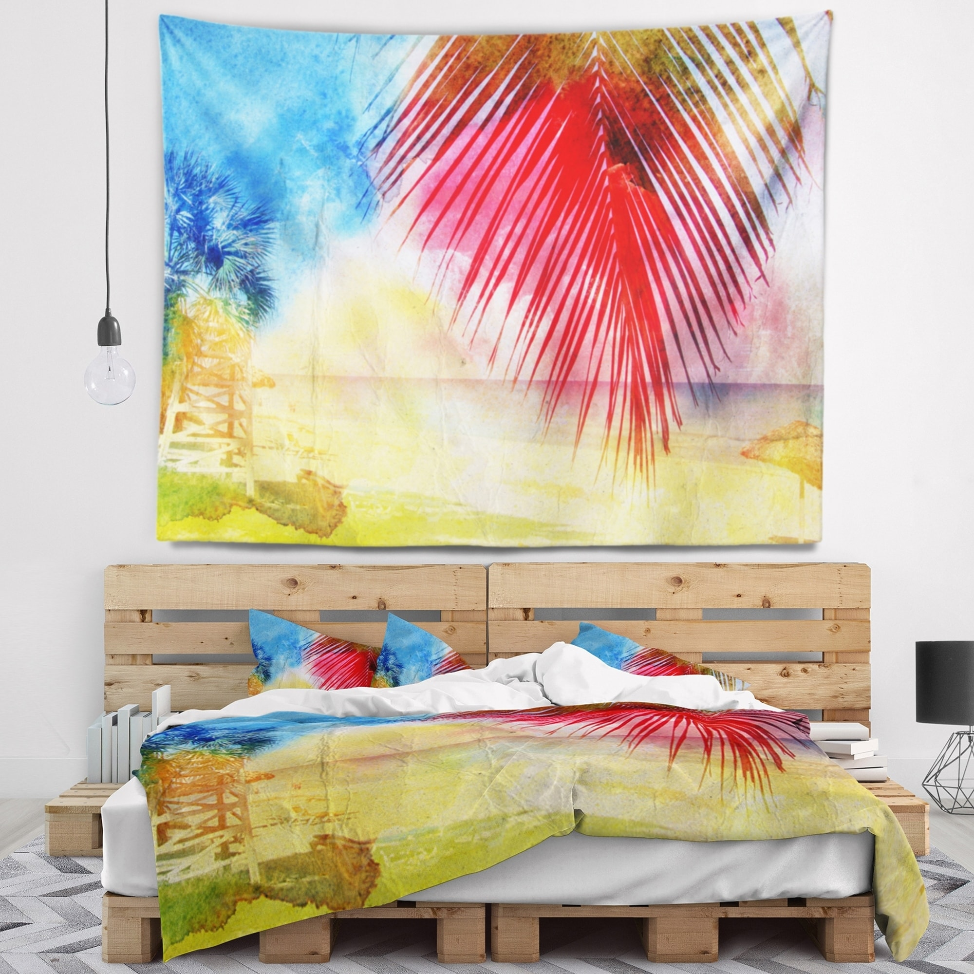 Shop Designart \'Retro Palm Leaf Watercolor\' Trees Painting Wall ...