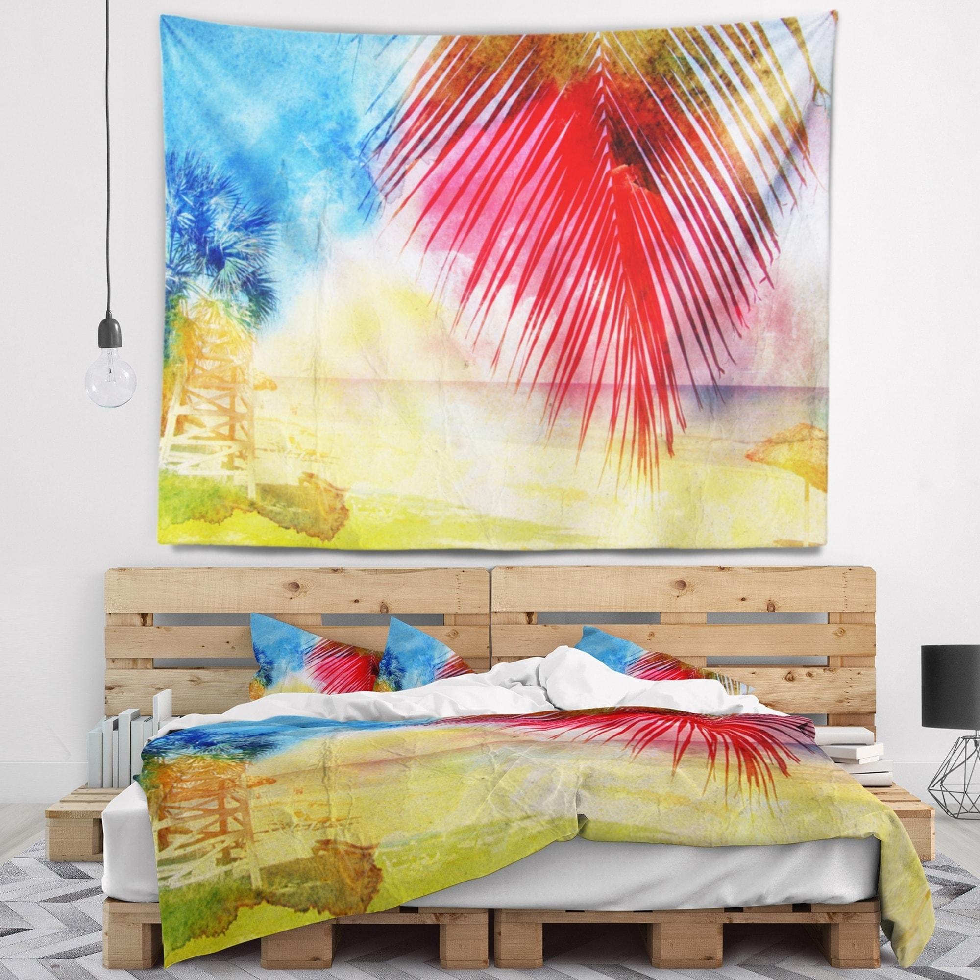 Shop Designart \'Retro Palm Leaf Watercolor\' Trees Painting Wall ...