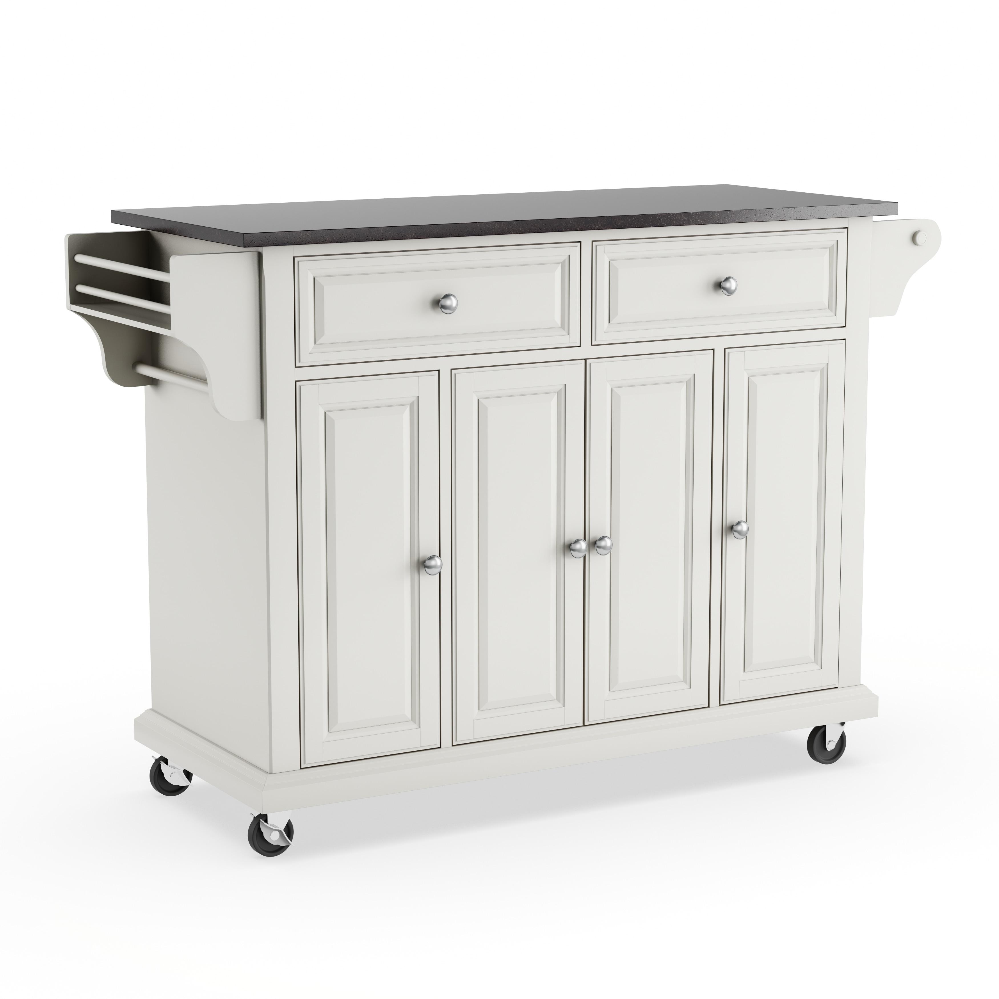 Shop Copper Grove Tillebrook Solid Black Granite Top Kitchen Cart