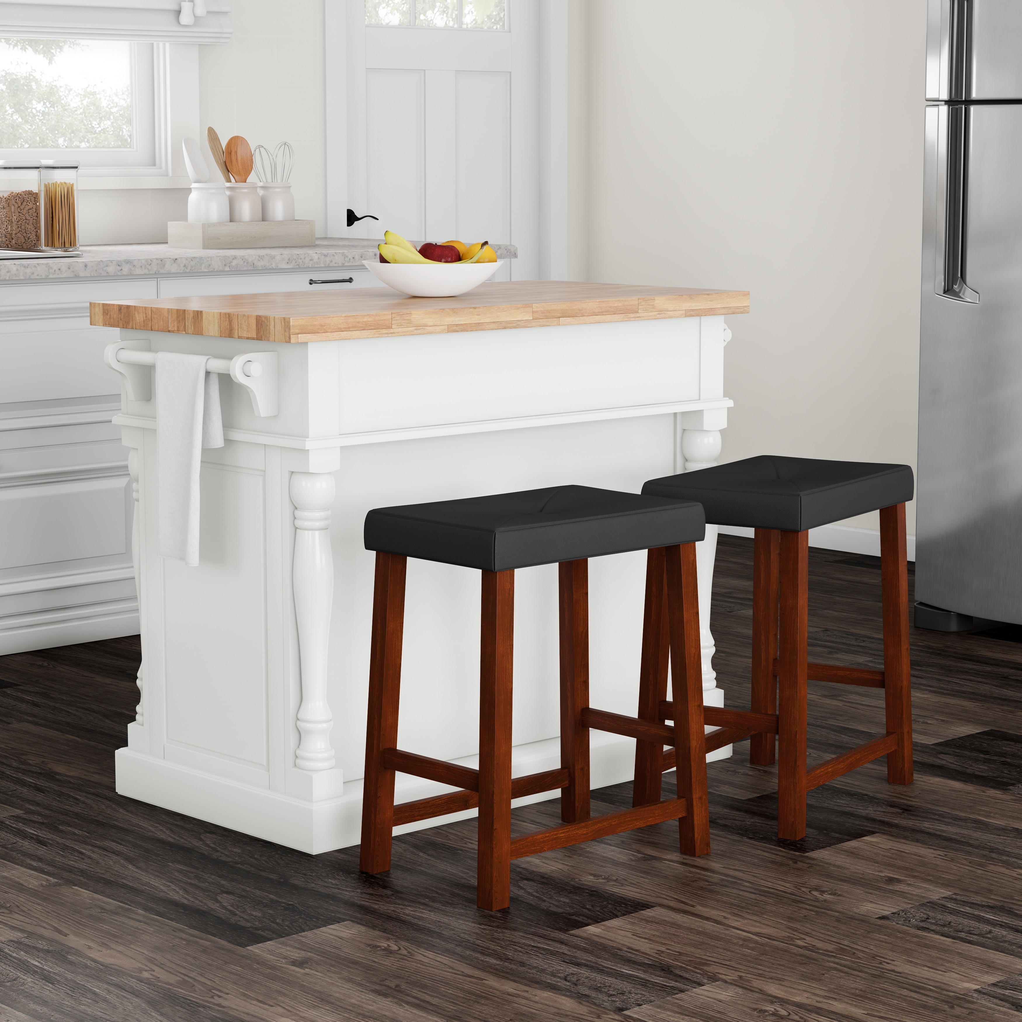 Shop gracewood hollow kenny butcher block top white kitchen island with 24 inch black upholstered saddle stools free shipping today overstock com