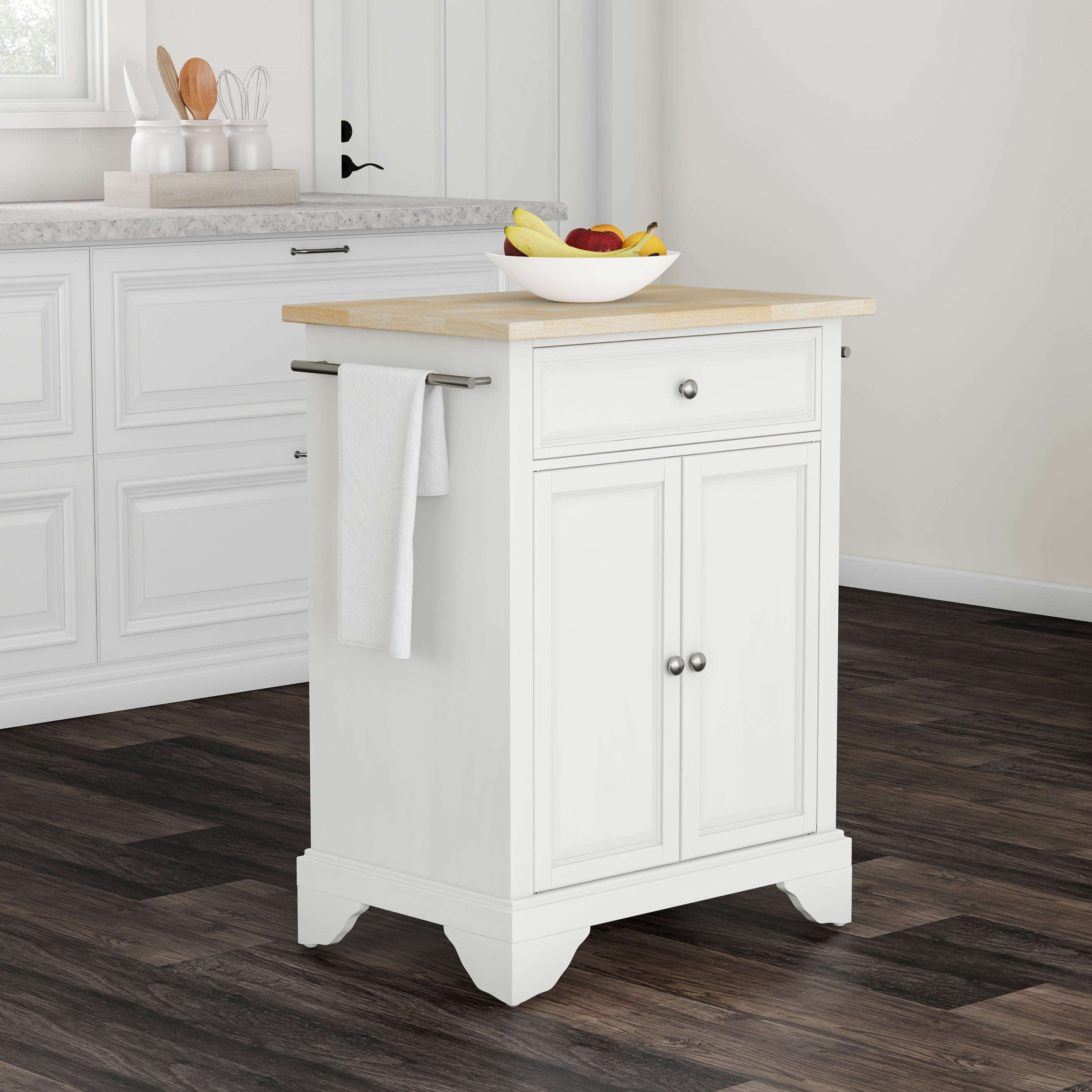 Shop copper grove slade natural wood top portable kitchen island in white finish free shipping today overstock com 20931615