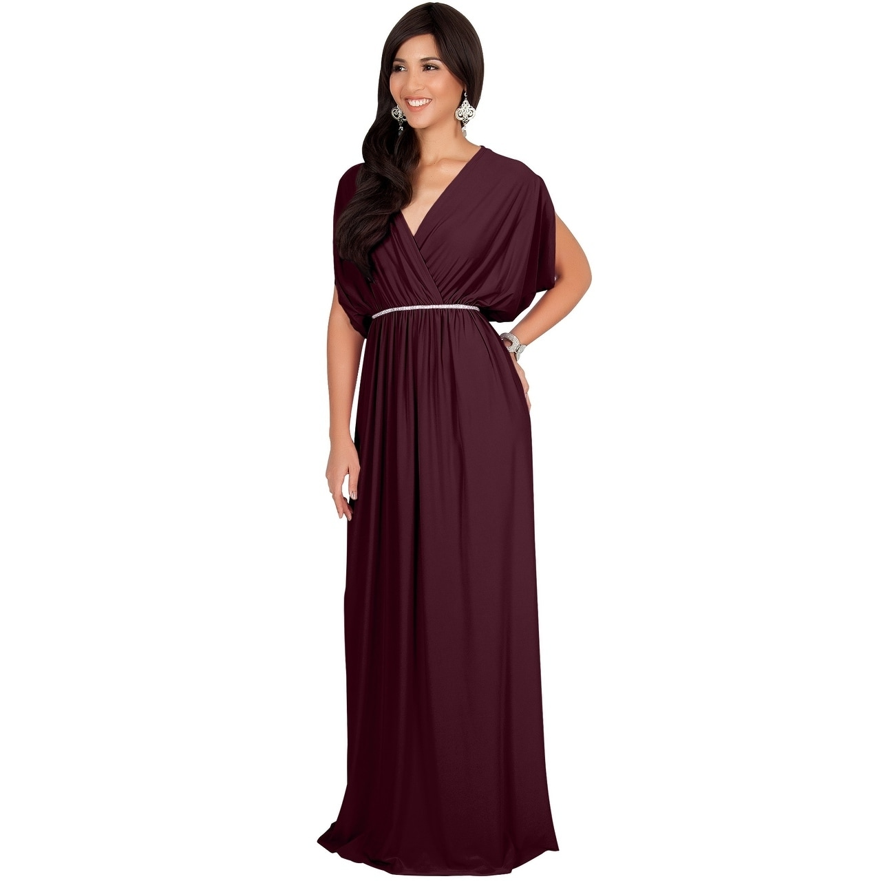 acee9598494bac Shop KOH KOH Womens Elegant Long V Neck Bridesmaid Flowy Maxi dresses -  Free Shipping Today - Overstock - 20932581