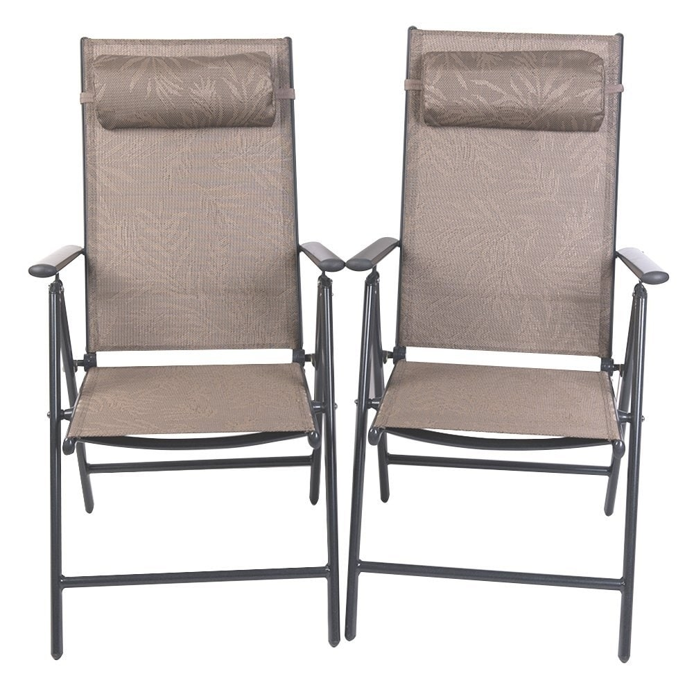 Patiopost Folding Chairs Adjule Outdoor Recliner Patio 2 Persons Textilene Poolside Garden Lounge Yellow Jacquard