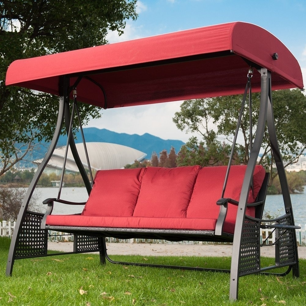 Superbe Shop Outdoor Swing Chair, Seats 3 Porch Patio Swing Glider With Durable  Steel Frame And Padded Cushion, Red   Free Shipping Today   Overstock.com    20940841