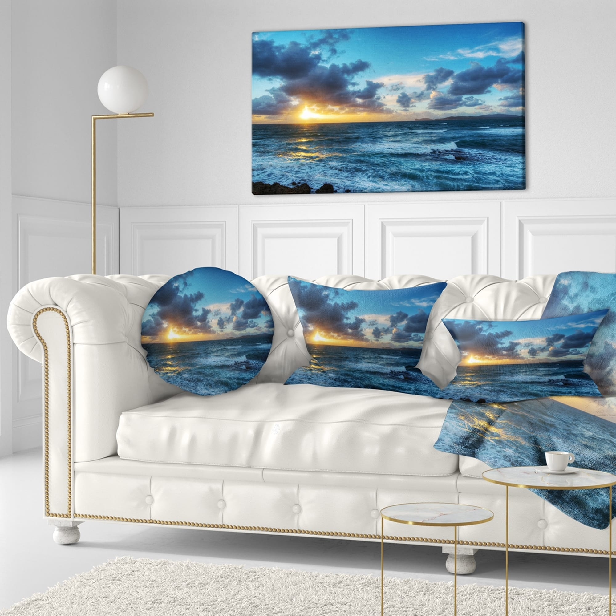 Shop designart sunset at alghero under dramatic sky seashore throw pillow on sale free shipping on orders over 45 overstock com 20943543