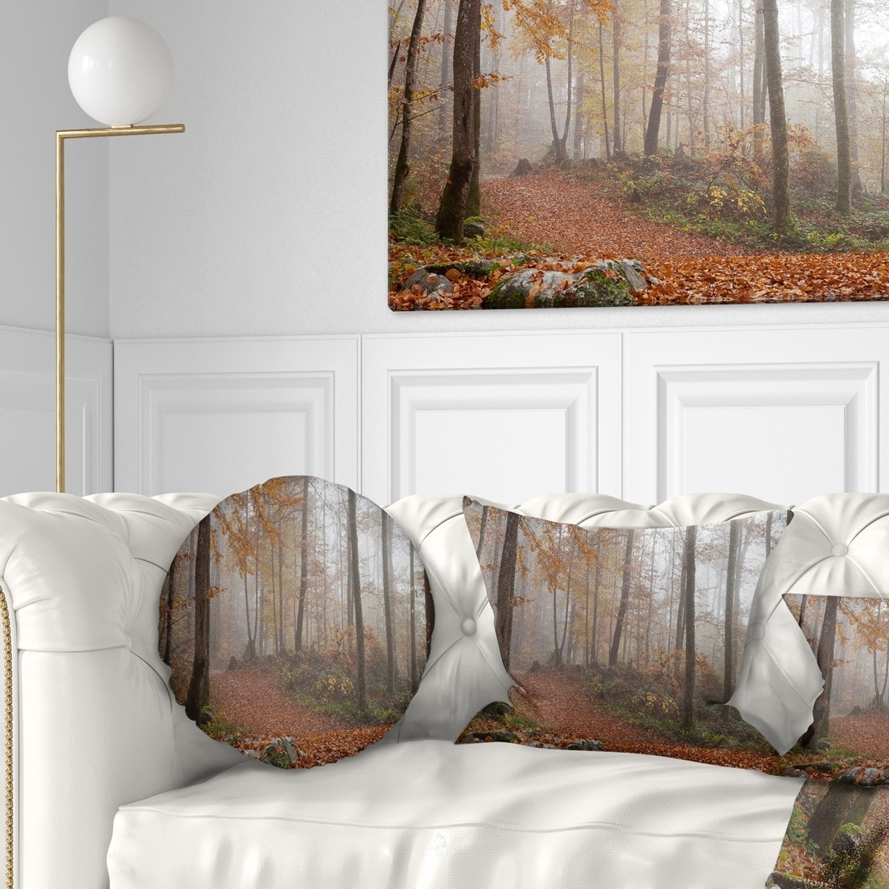 Designart autumn forest in germany landscape photography throw pillow