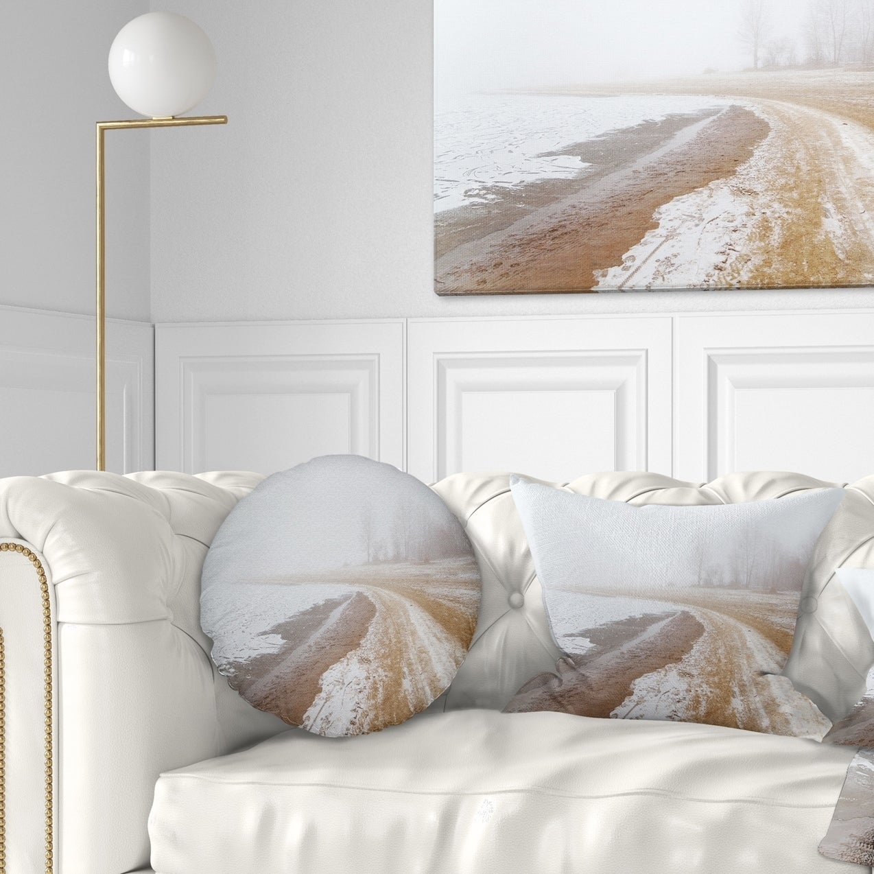 Designart Sandy Beach In The Winter Fog Modern Seashore Throw Pillow On Sale Overstock 20949308