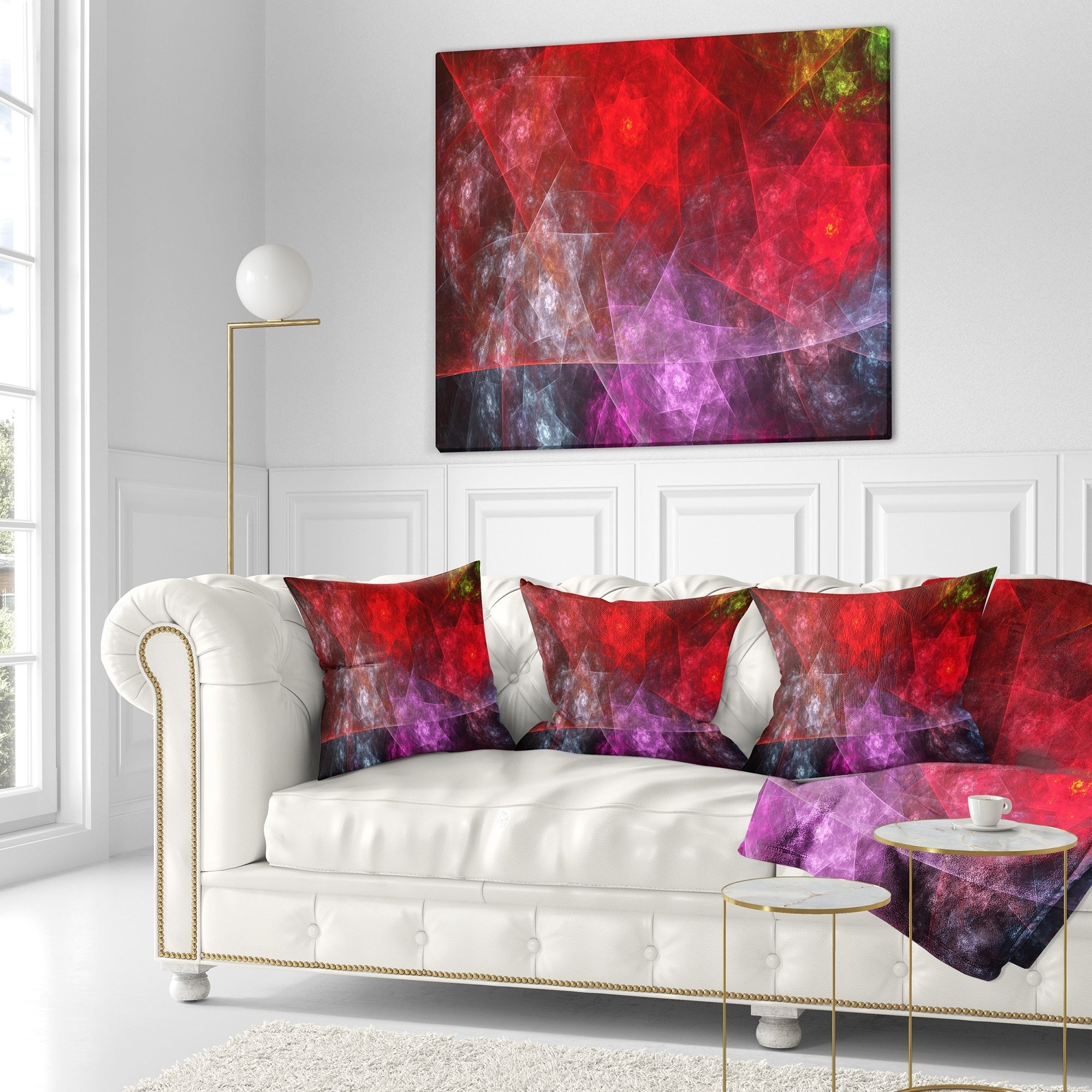 Designart \'Red Purple Symphony of Gems\' Abstract Throw Pillow - Free ...