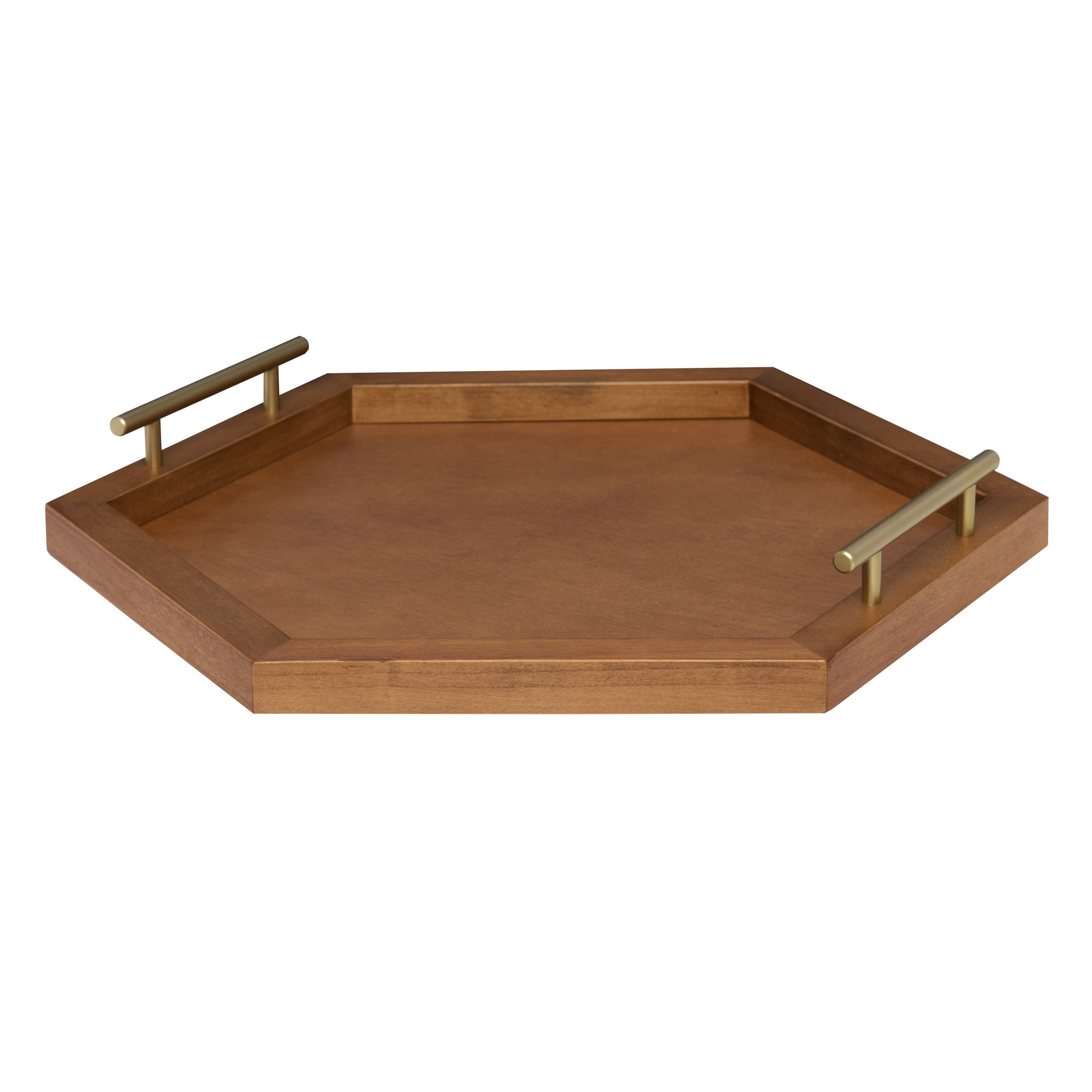 e94ec447a3 Shop Halsey Hexagon Decorative Wood Tray with Polished Metal Handles - Free  Shipping Today - Overstock - 20953651