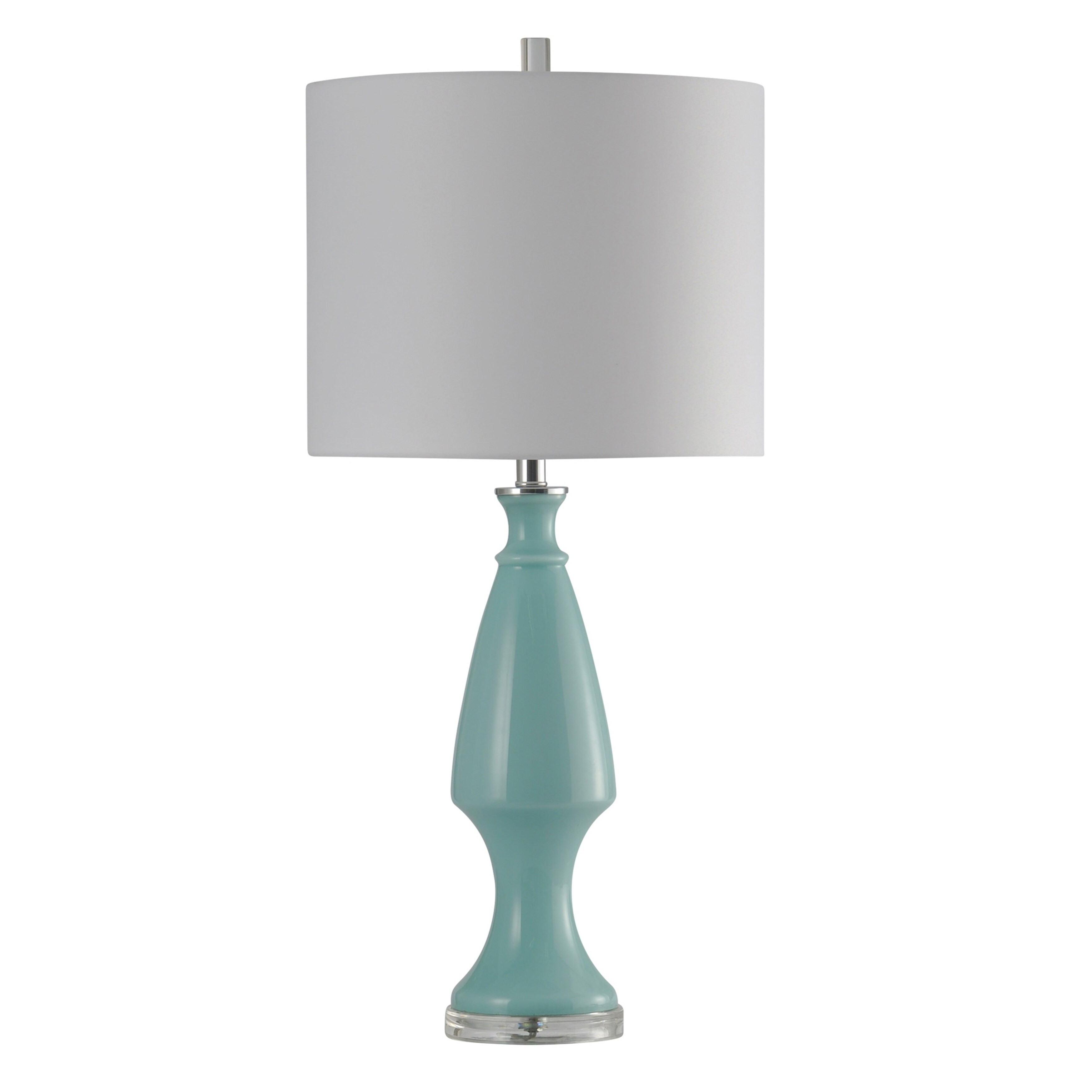 Pantone Light Blue And Chrome Table Lamp White Hardback Fabric Shade Free Shipping Today 20953750