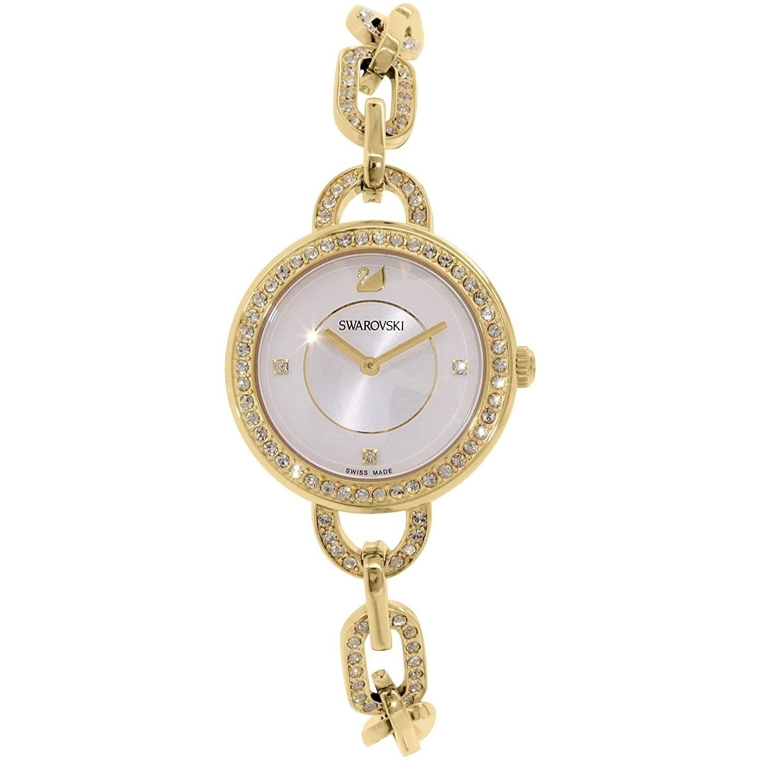 2e54389b8aca Shop Swarovski elements Women s  Aila  Crystal Gold-Tone Stainless Steel  Watch - silver - Free Shipping Today - Overstock - 20953976