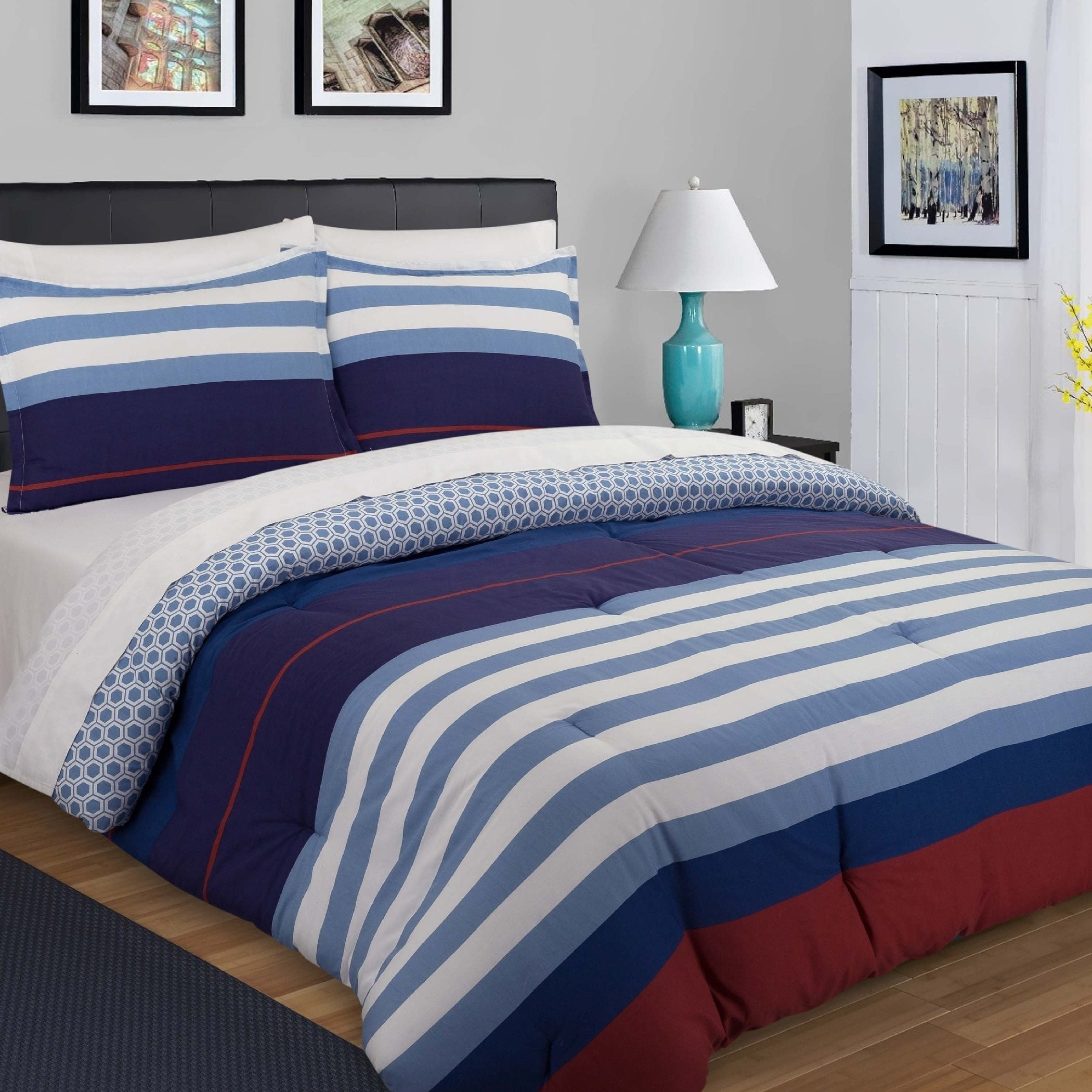Nouvelle Home Nautical Stripe Reversible Cotton Duvet Set On Free Shipping Today 20955276