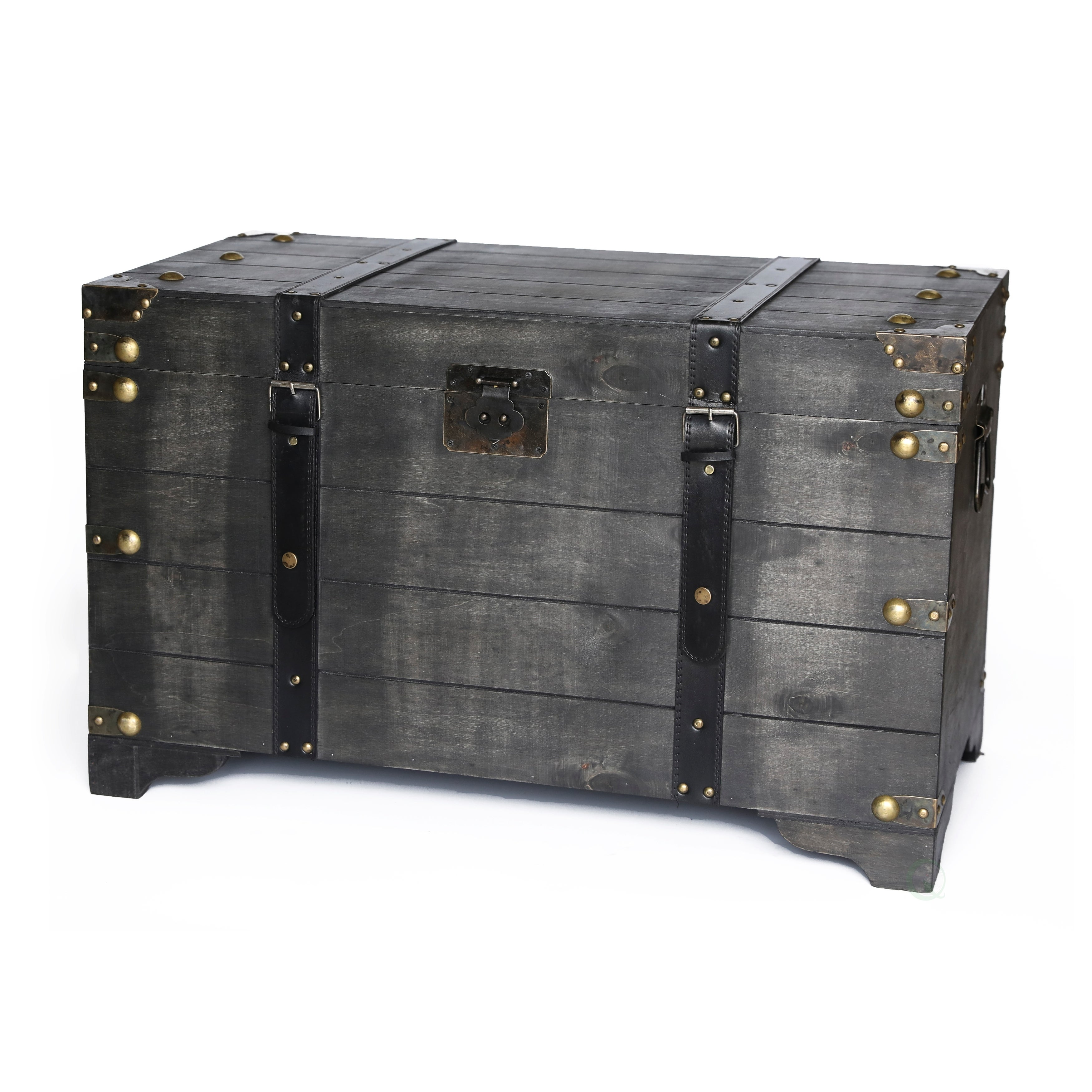 Distressed Black Large Wooden Storage Trunk Coffee Table Free Shipping Today 20956211