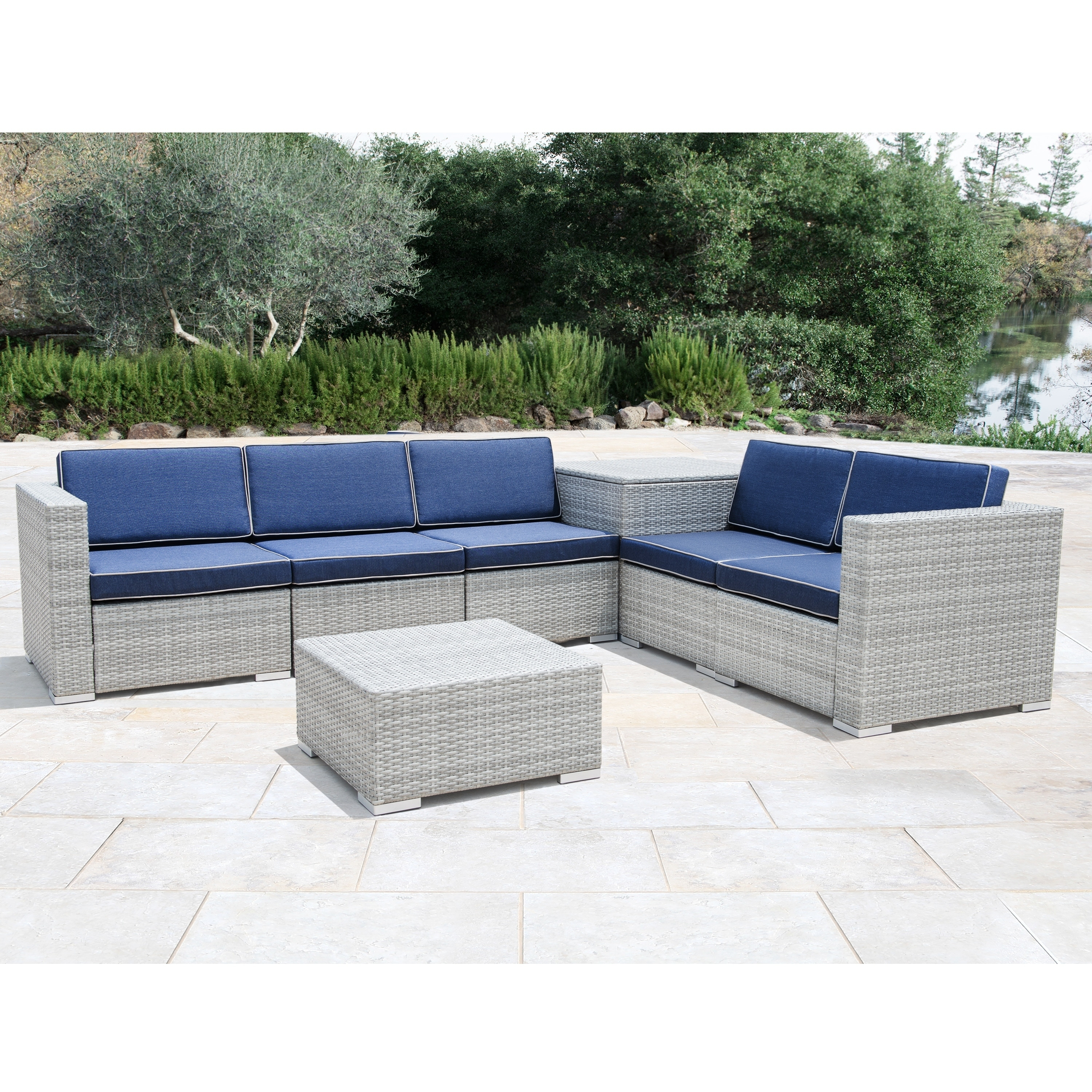 Shop corvus bologna 7 piece grey wicker patio furniture set with storage box on sale free shipping today overstock 20959943