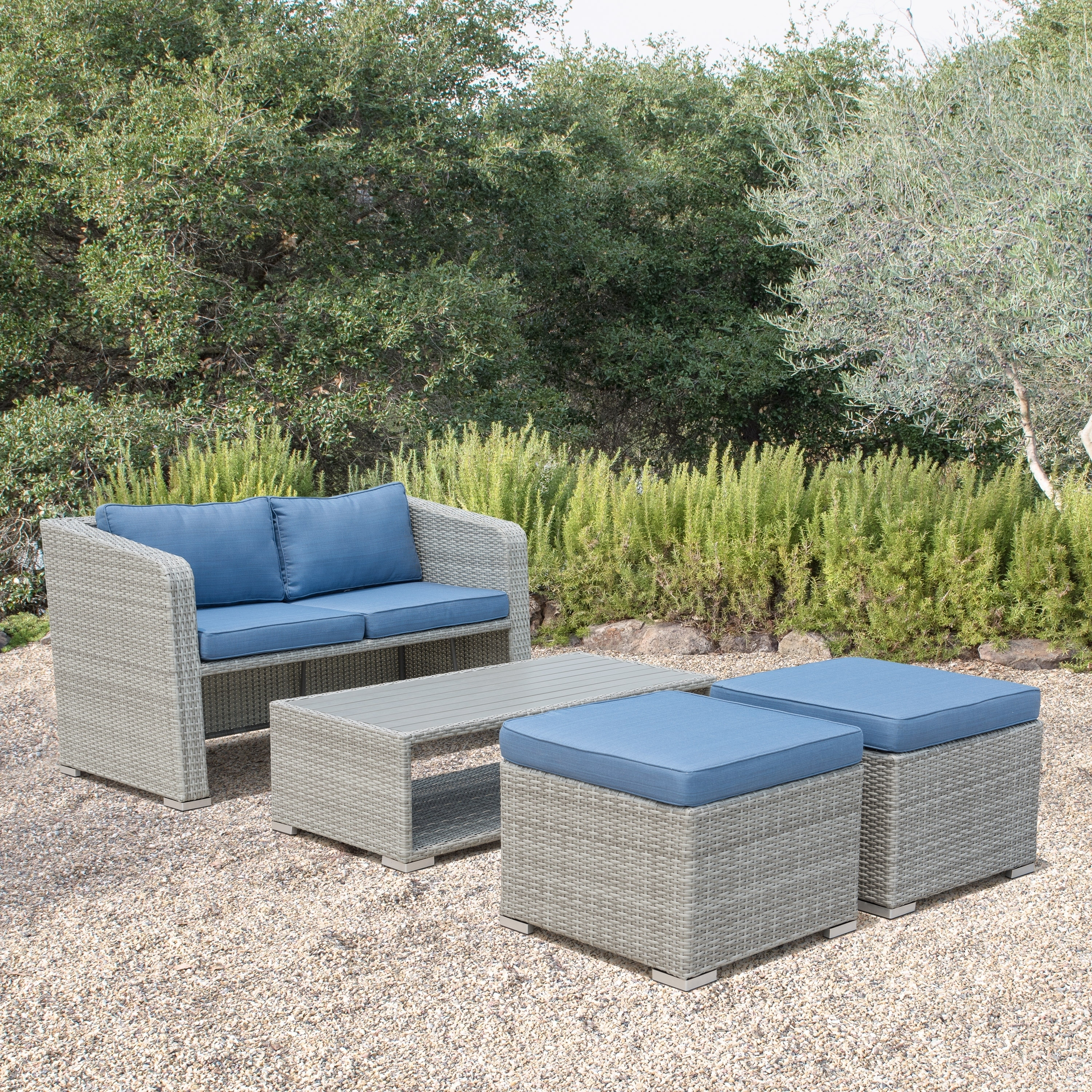Corvus Tino 4 Piece Grey Wicker Outdoor Chat Set With Blue Cushions On Ships To Canada Ca 20961086