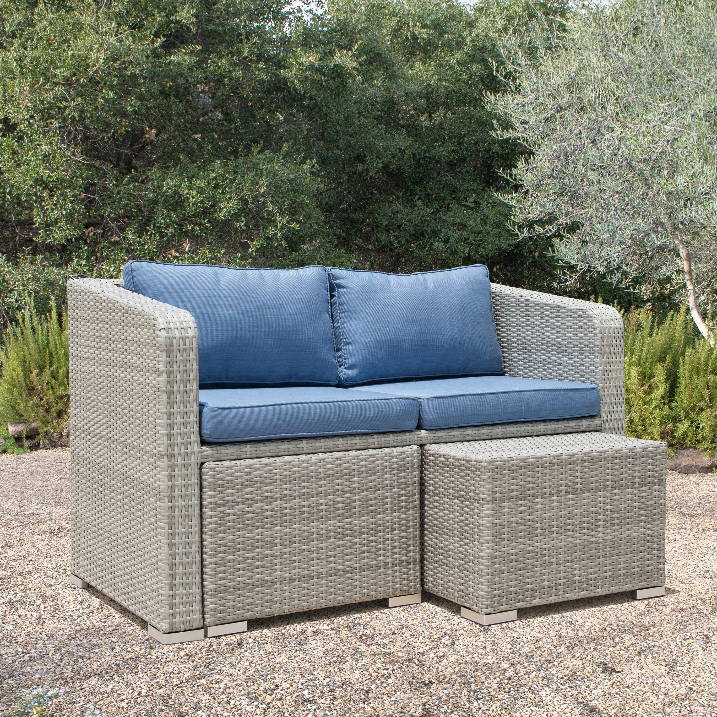 Shop Corvus Tino 4 Piece Grey Wicker Outdoor Chat Set With Blue Cushions    On Sale   Free Shipping Today   Overstock.com   20961086