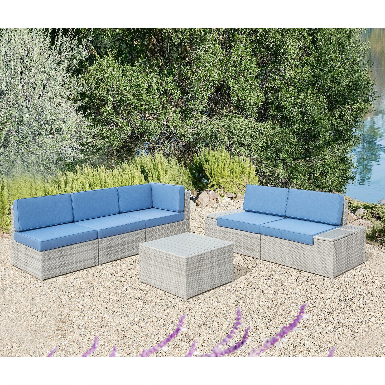 Corvus Modica Outdoor 6 Piece Grey Wicker Sofa Set Free Shipping Today 20961087