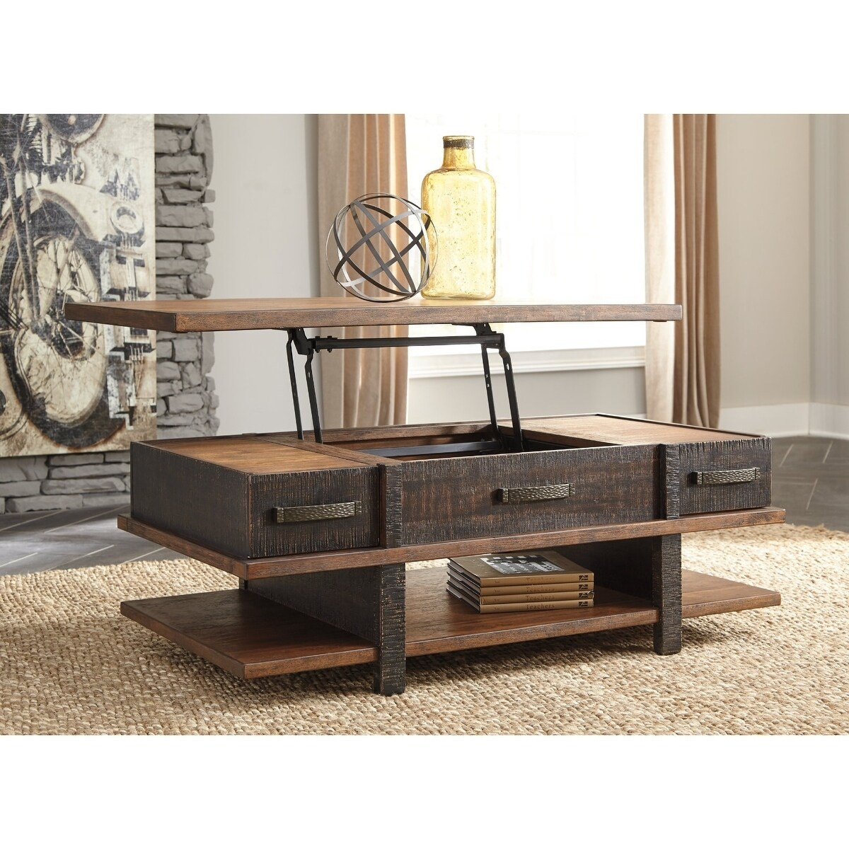 Shop stanah two tone coffee table with lift top free shipping today overstock com 20966020