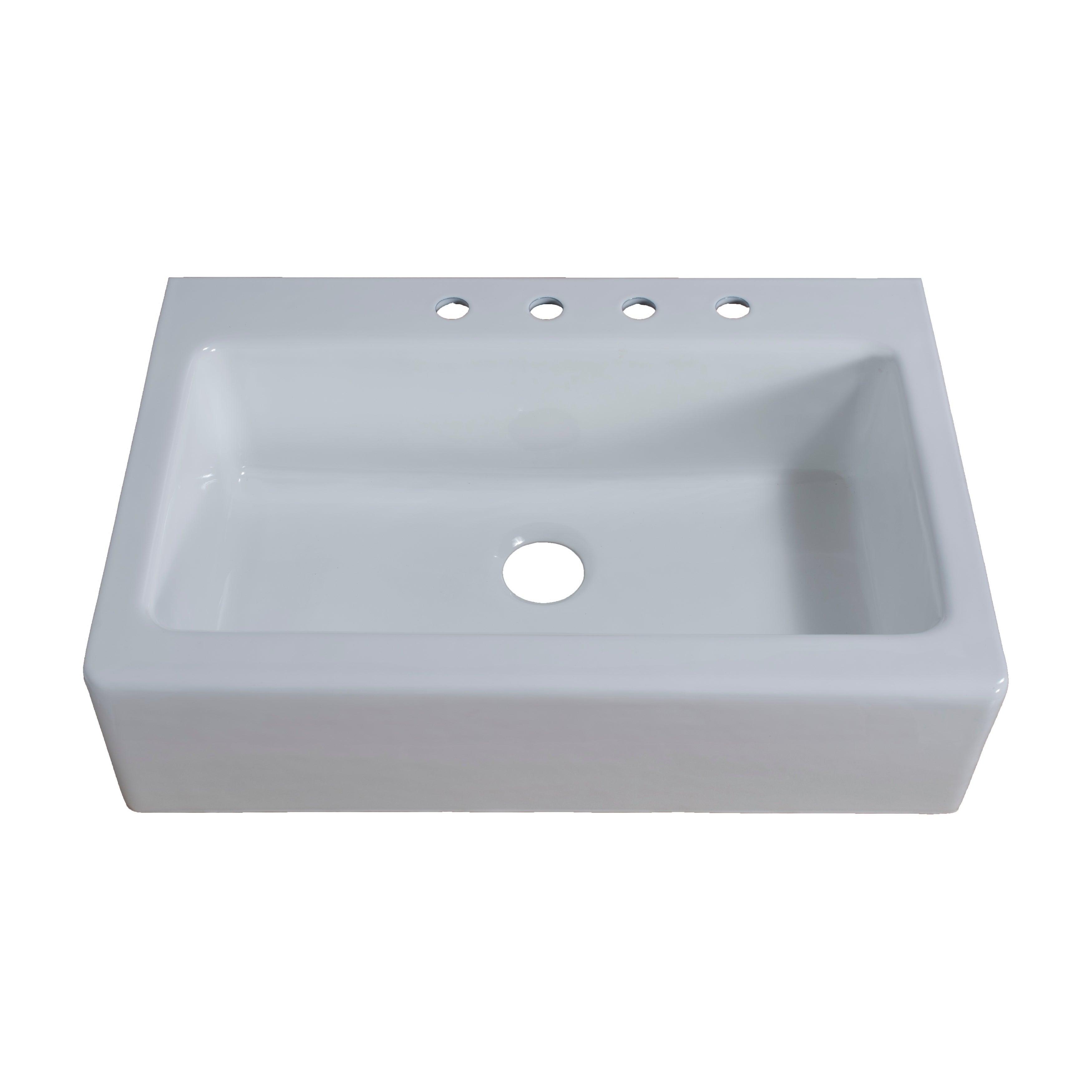 Shop Farmhouse Cast-Iron 33 in. Single Bowl Kitchen Sink - Free ...
