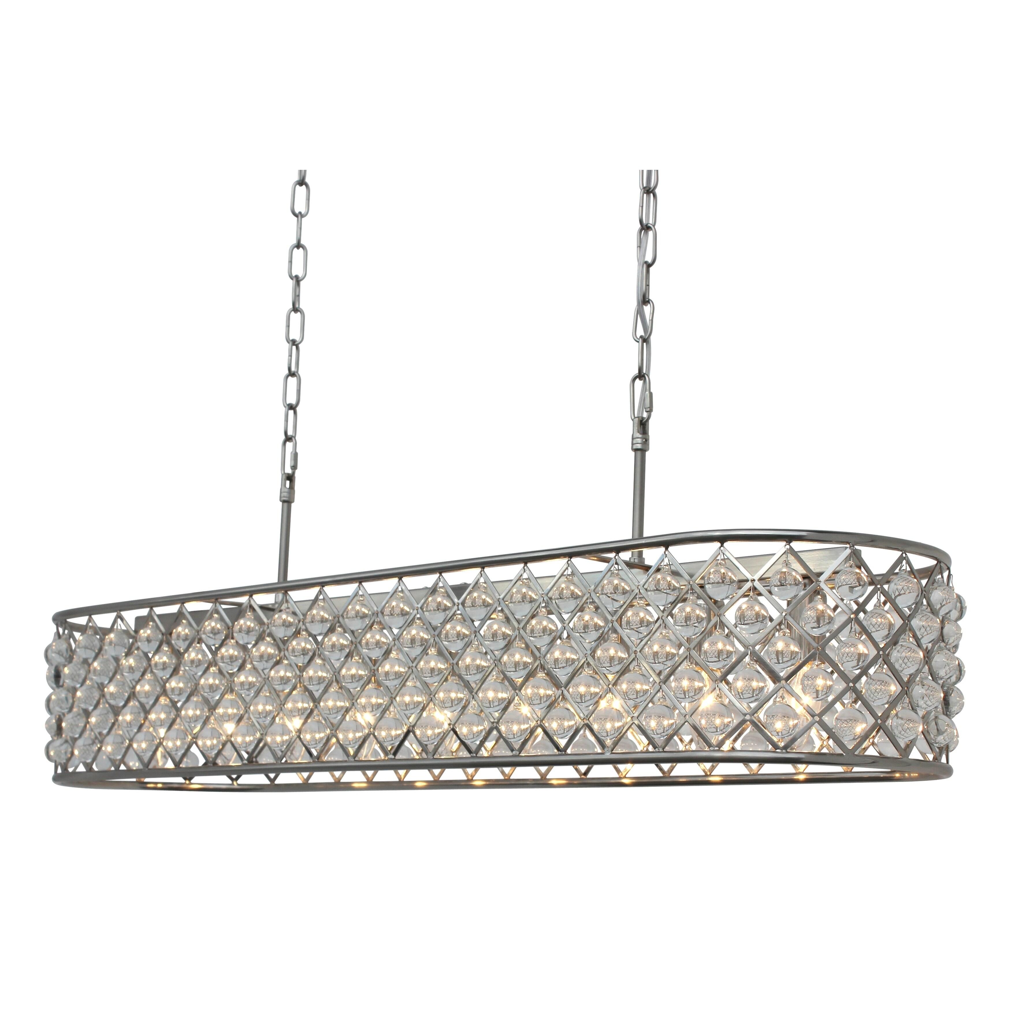 Cassiel 40 inch rectangular crystal chandelier brushed nickel n a