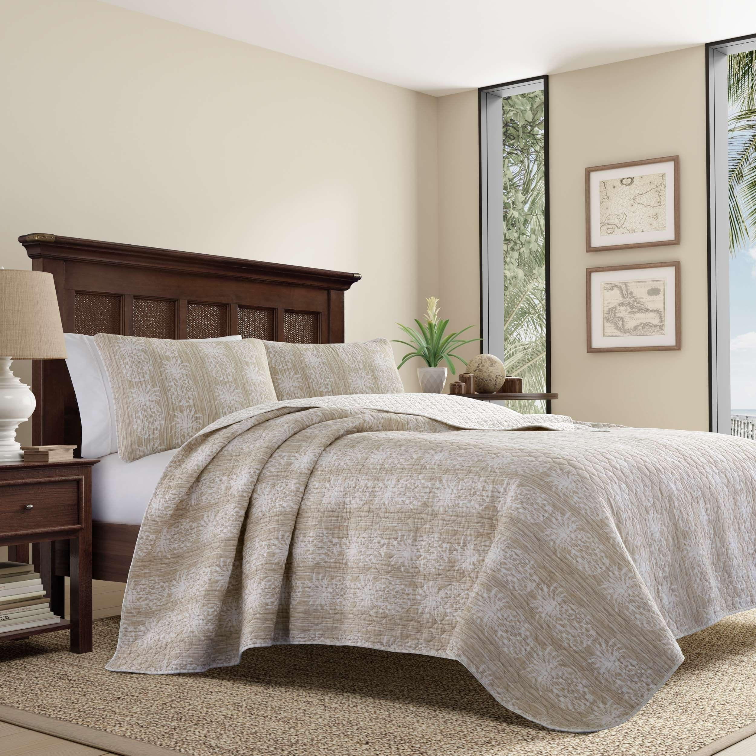 shop tommy bahama pineapple stripe quilt set on sale free