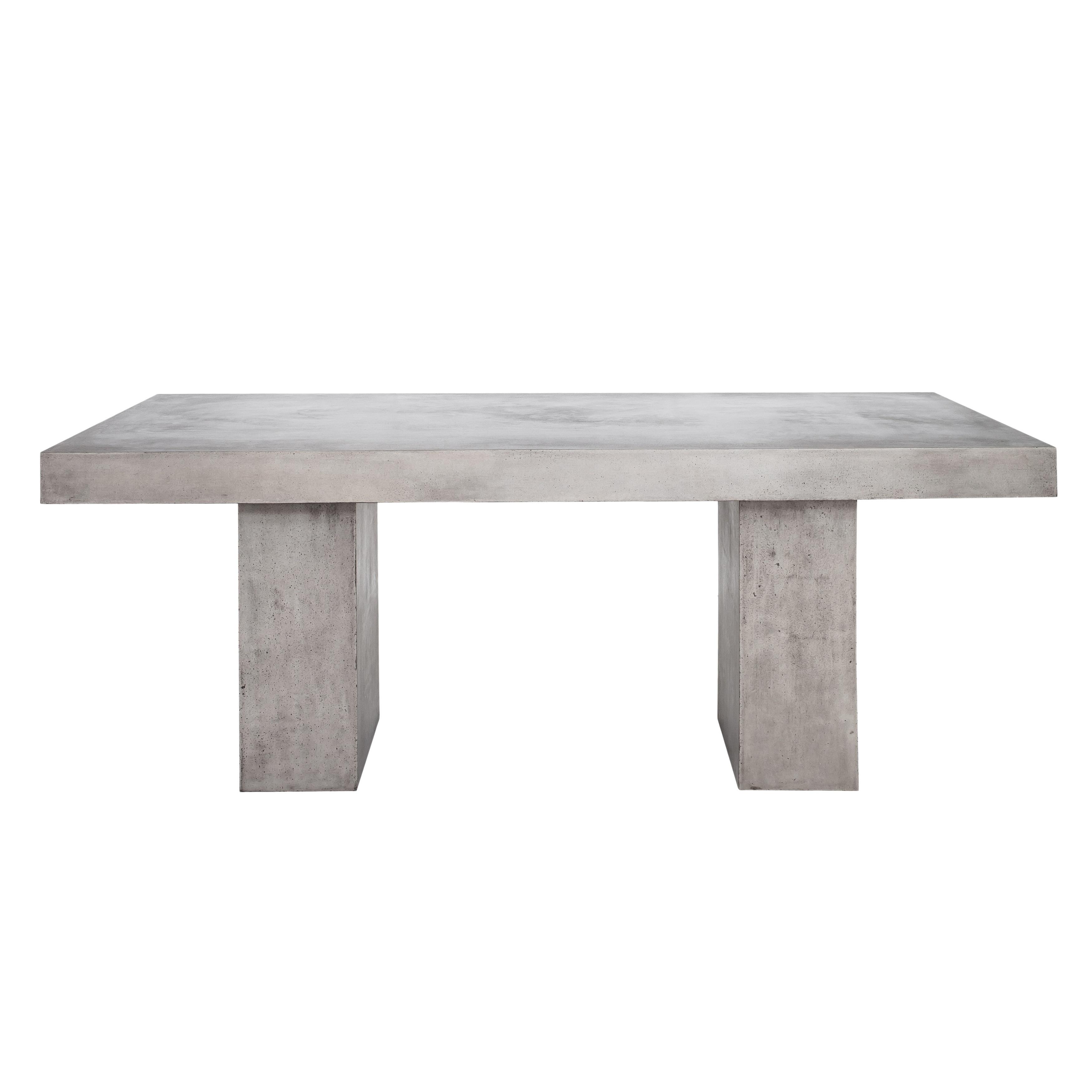 Aurelle Home Grey Concrete Outdoor Dining Table