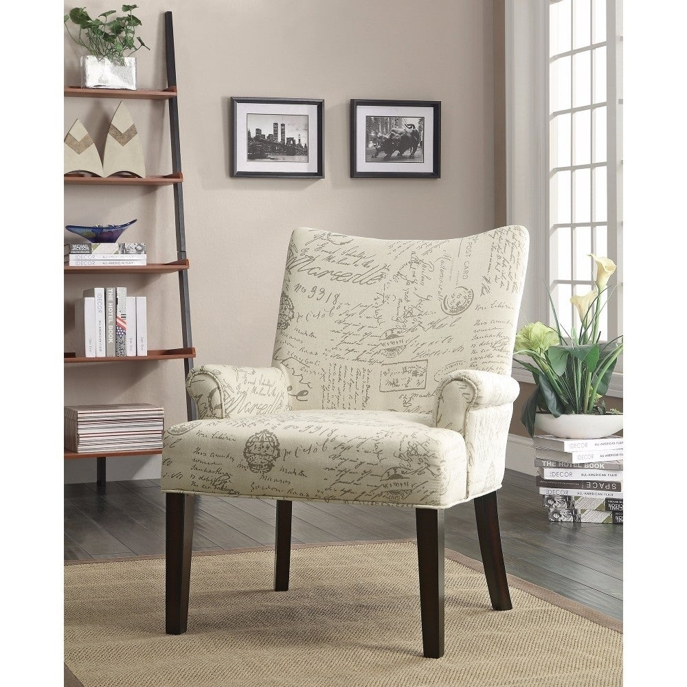 Shop french script accent chair off white free shipping today overstock com 20974781