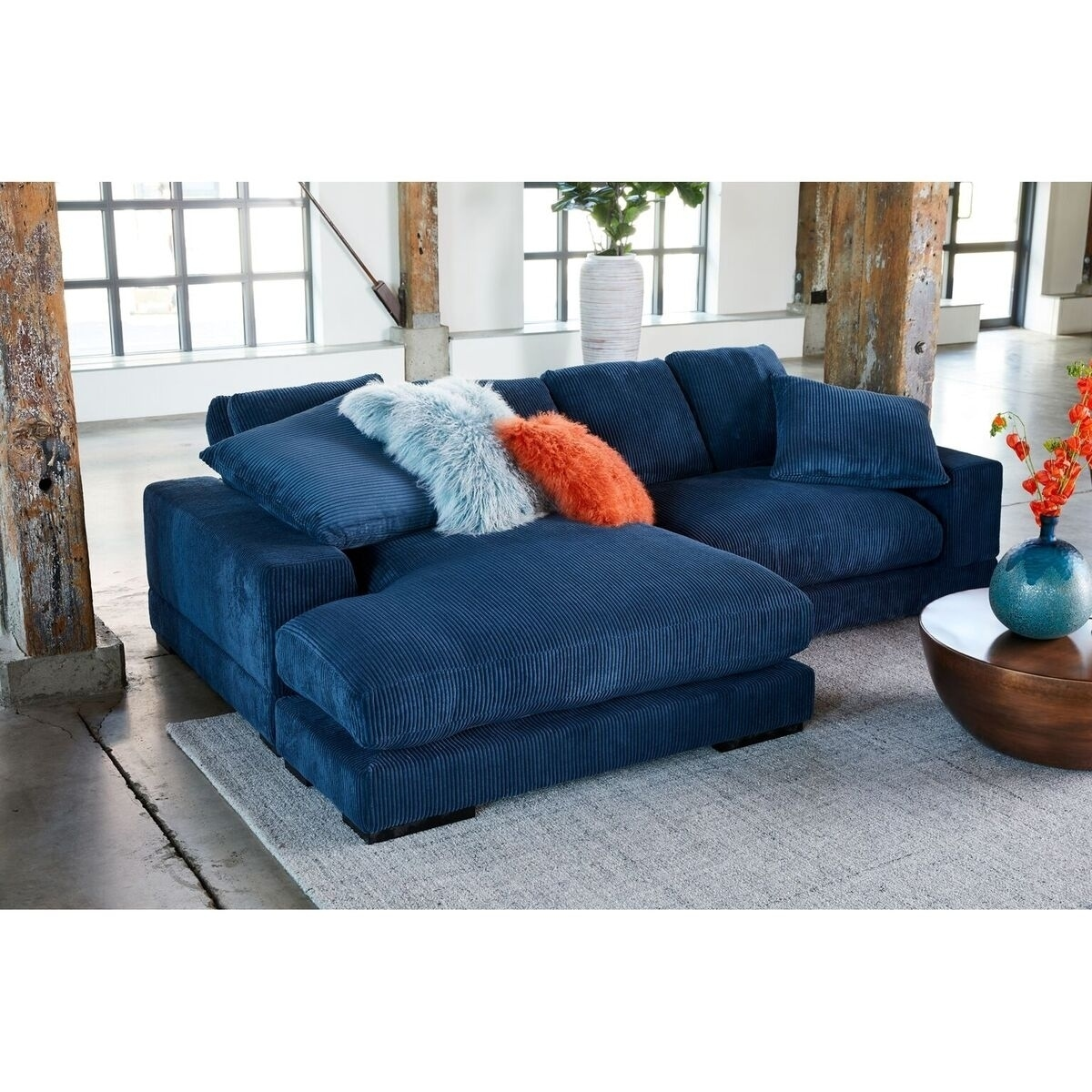 Aurelle Home Polk Blue Sectional Sofa On Free Shipping Today 20978588