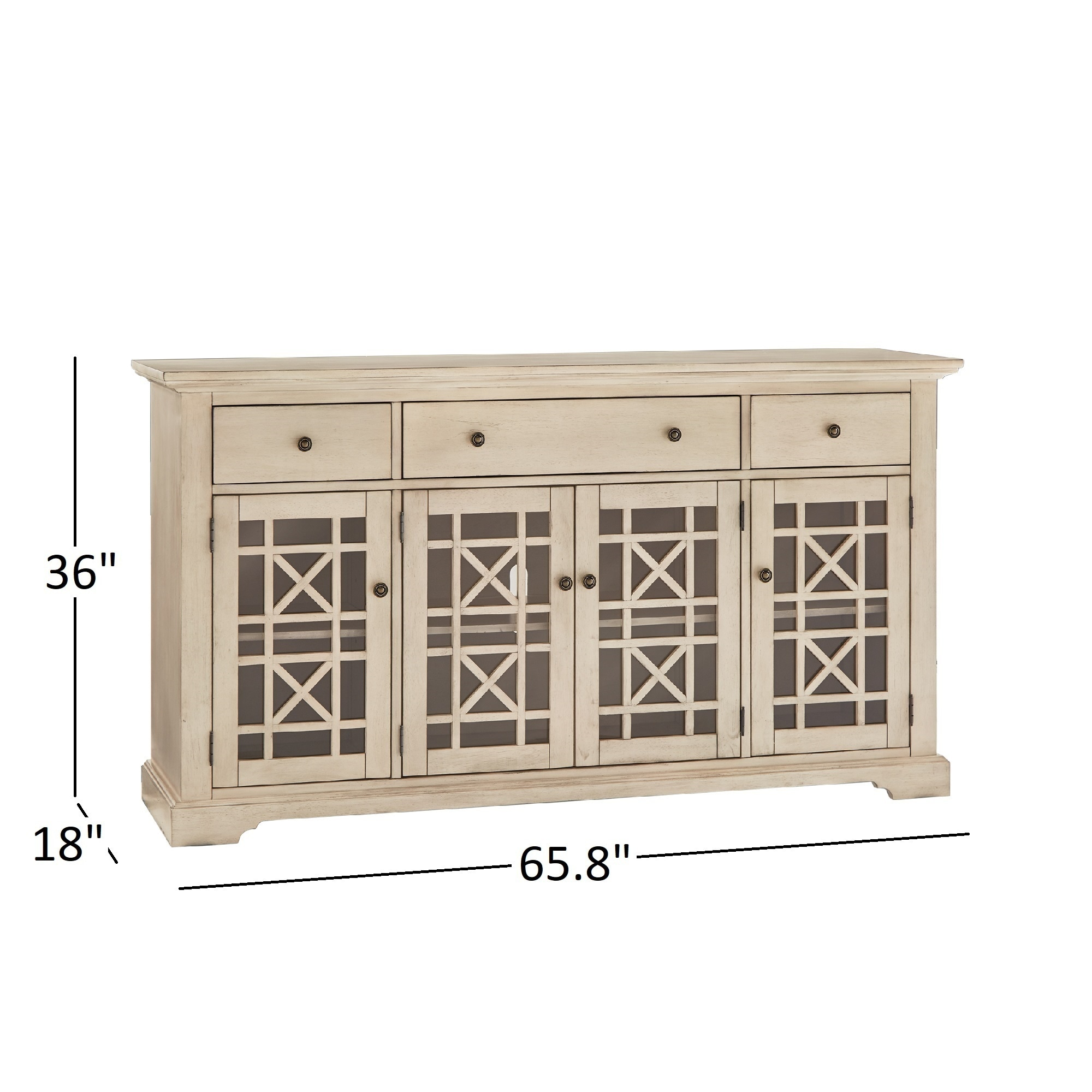 Lyndell Glass Door Wood Buffet Server Console Table By INSPIRE Q Classic