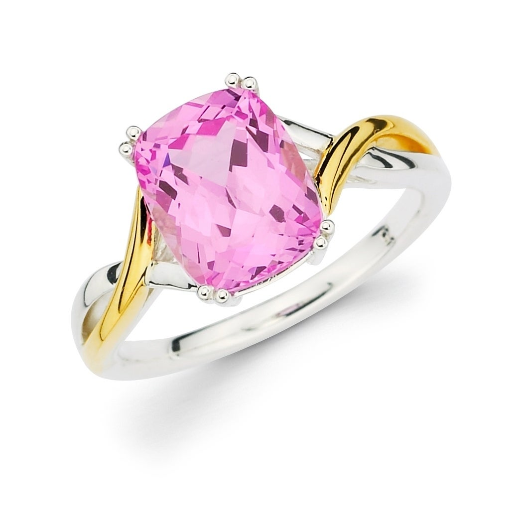 Shop Sterling Silver with 18k Yellow Gold Accents Pink Sapphire Ring ...
